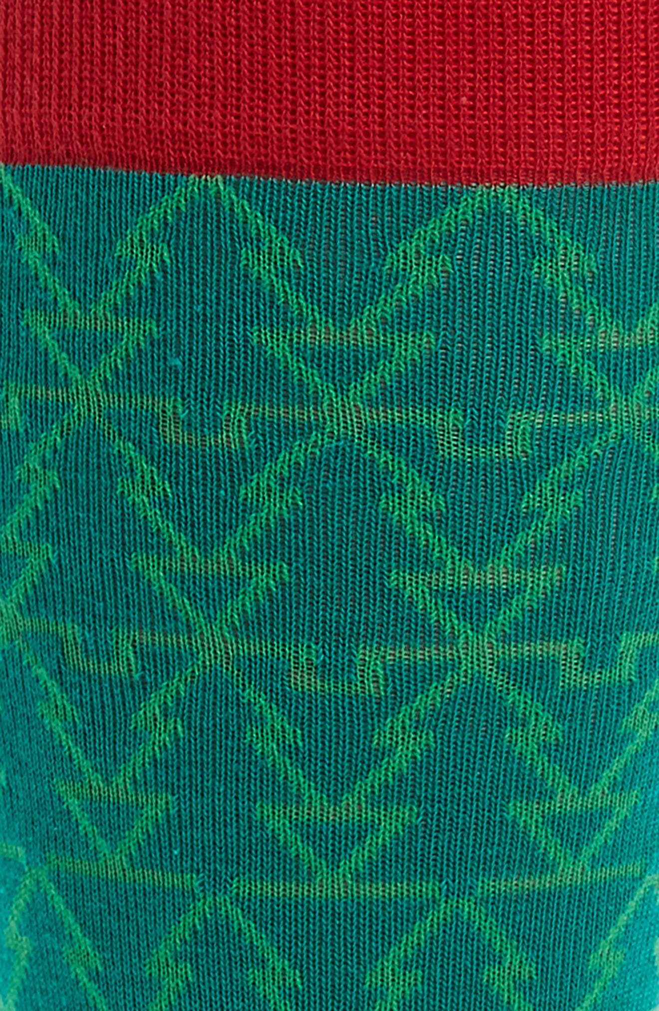 Holiday Mosaic Tree Socks,                             Alternate thumbnail 2, color,                             Green Pepper