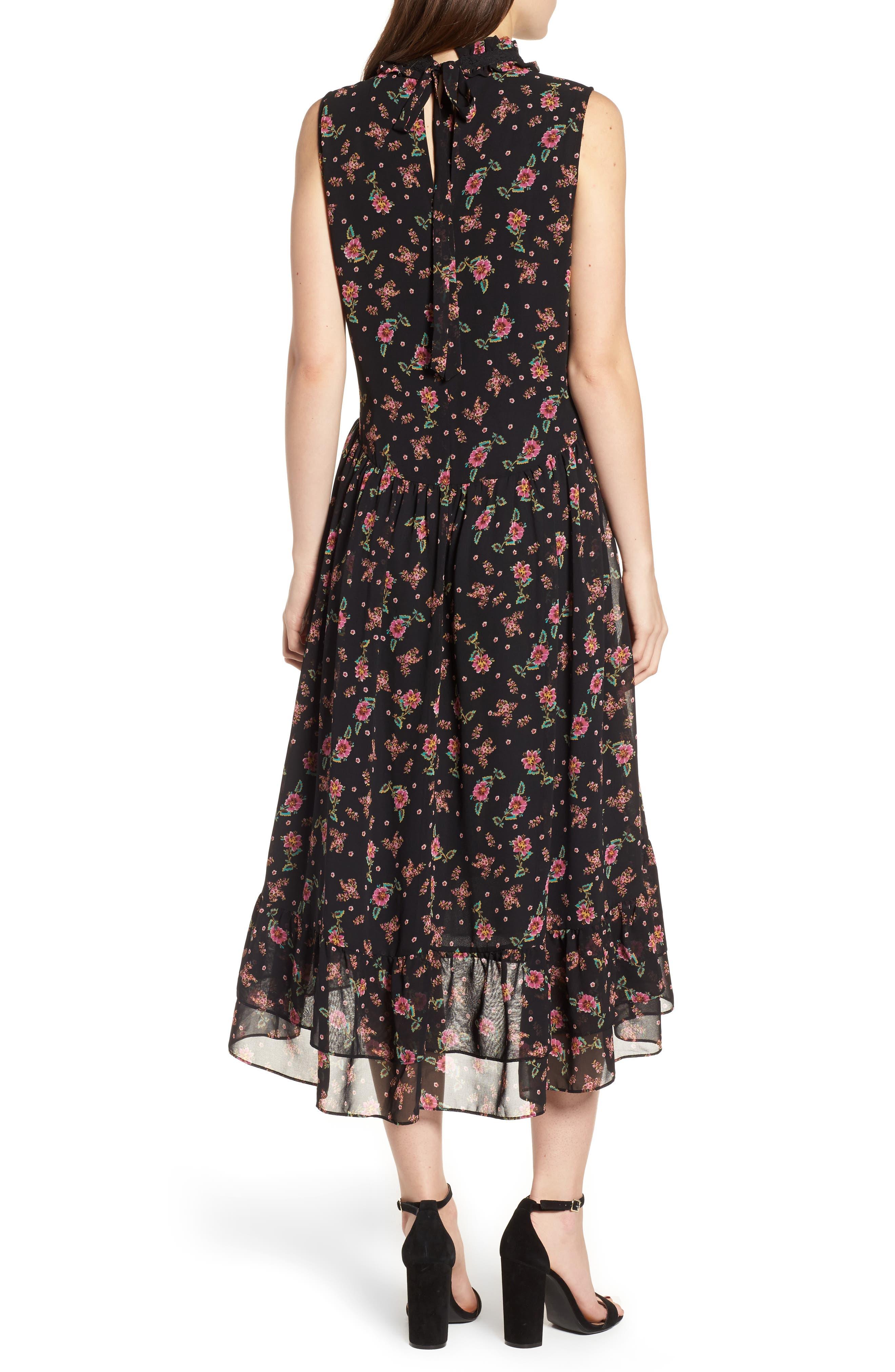 Harvey Midi Dress,                             Alternate thumbnail 2, color,                             Black Multi