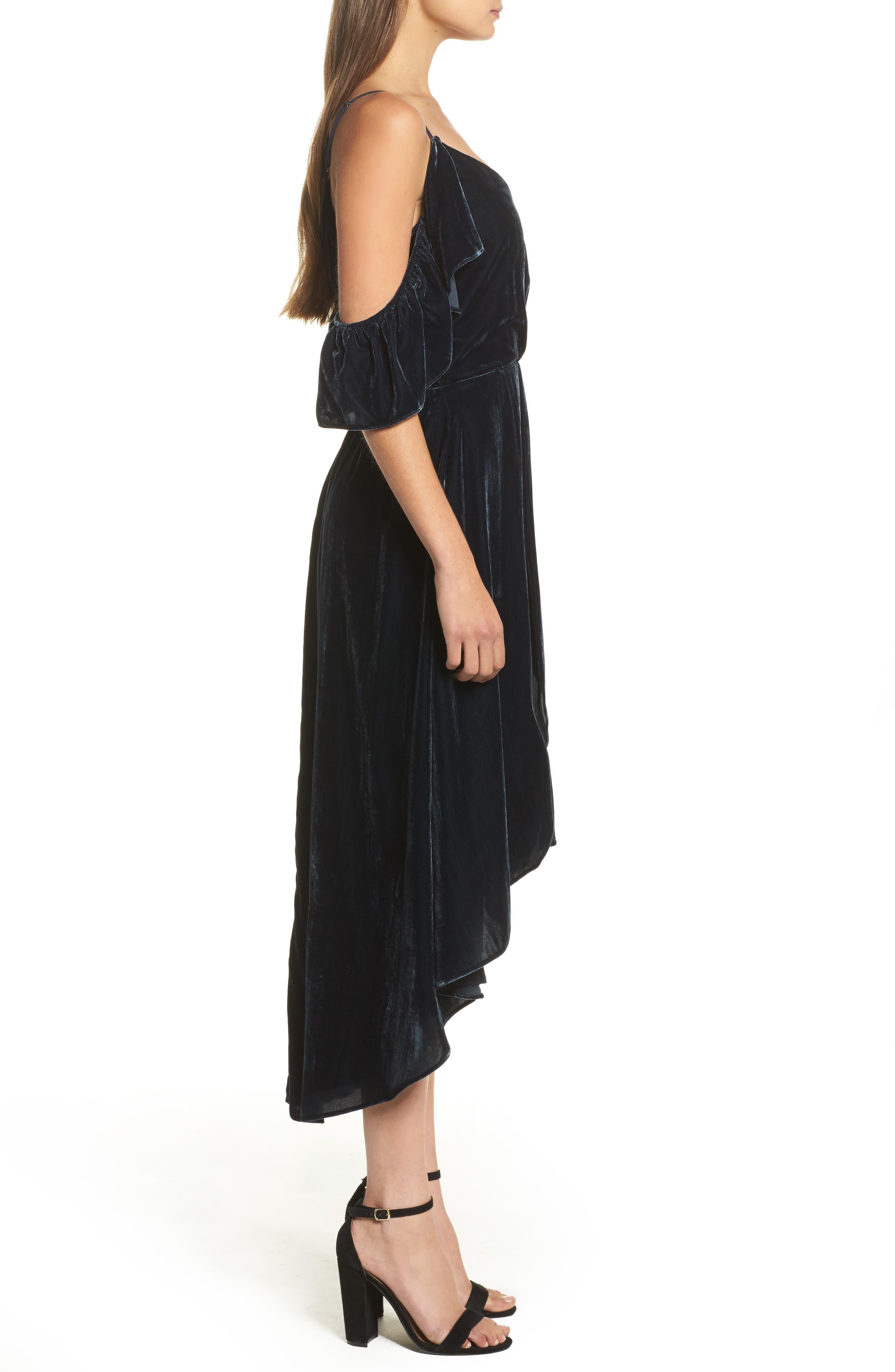 Alternate Image 3  - Chelsea28 Cold Shoulder Velvet Midi Dress