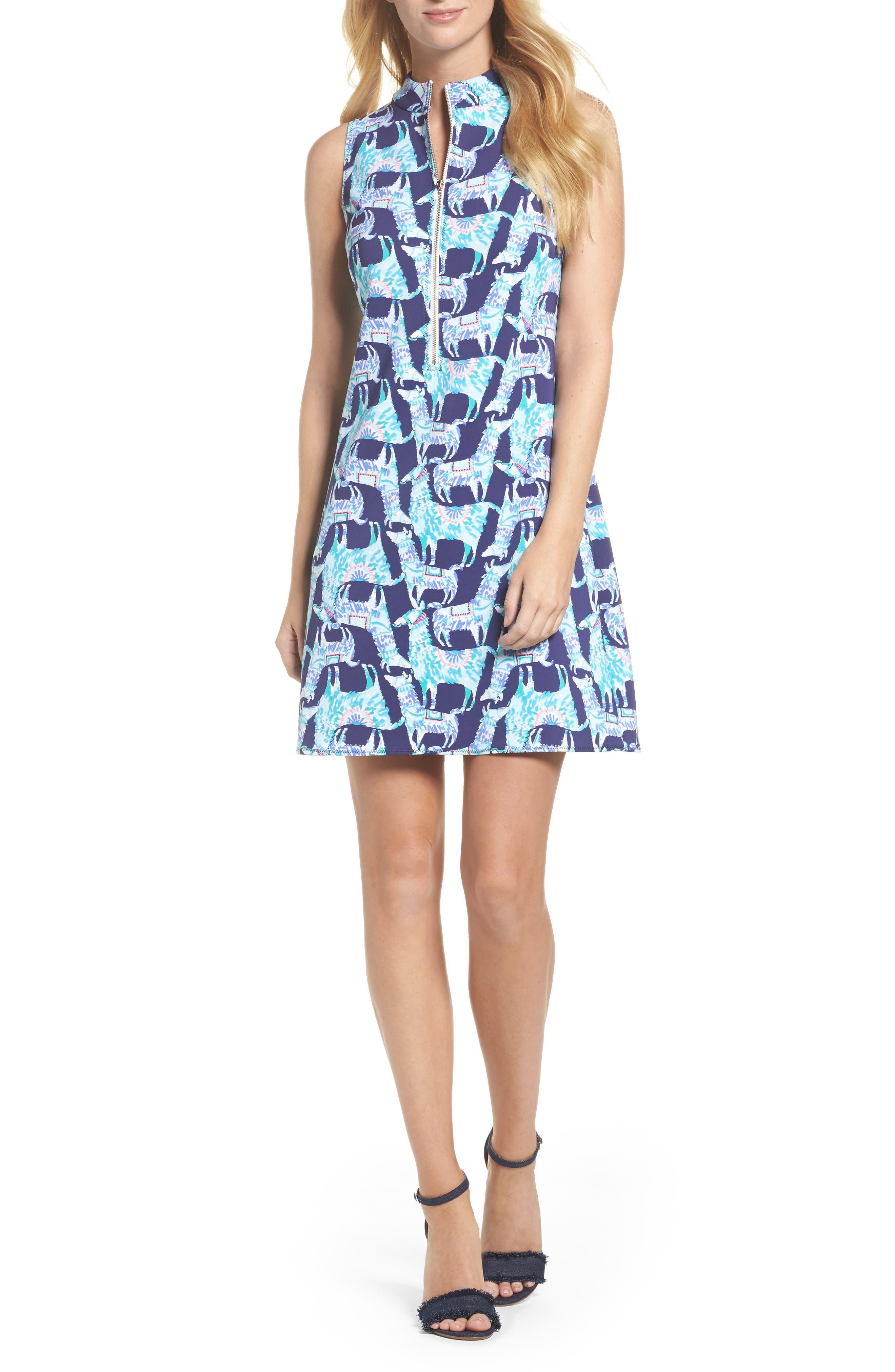 Opal Shift Dress,                             Main thumbnail 1, color,                             Bright Navy Alpaca My Bags