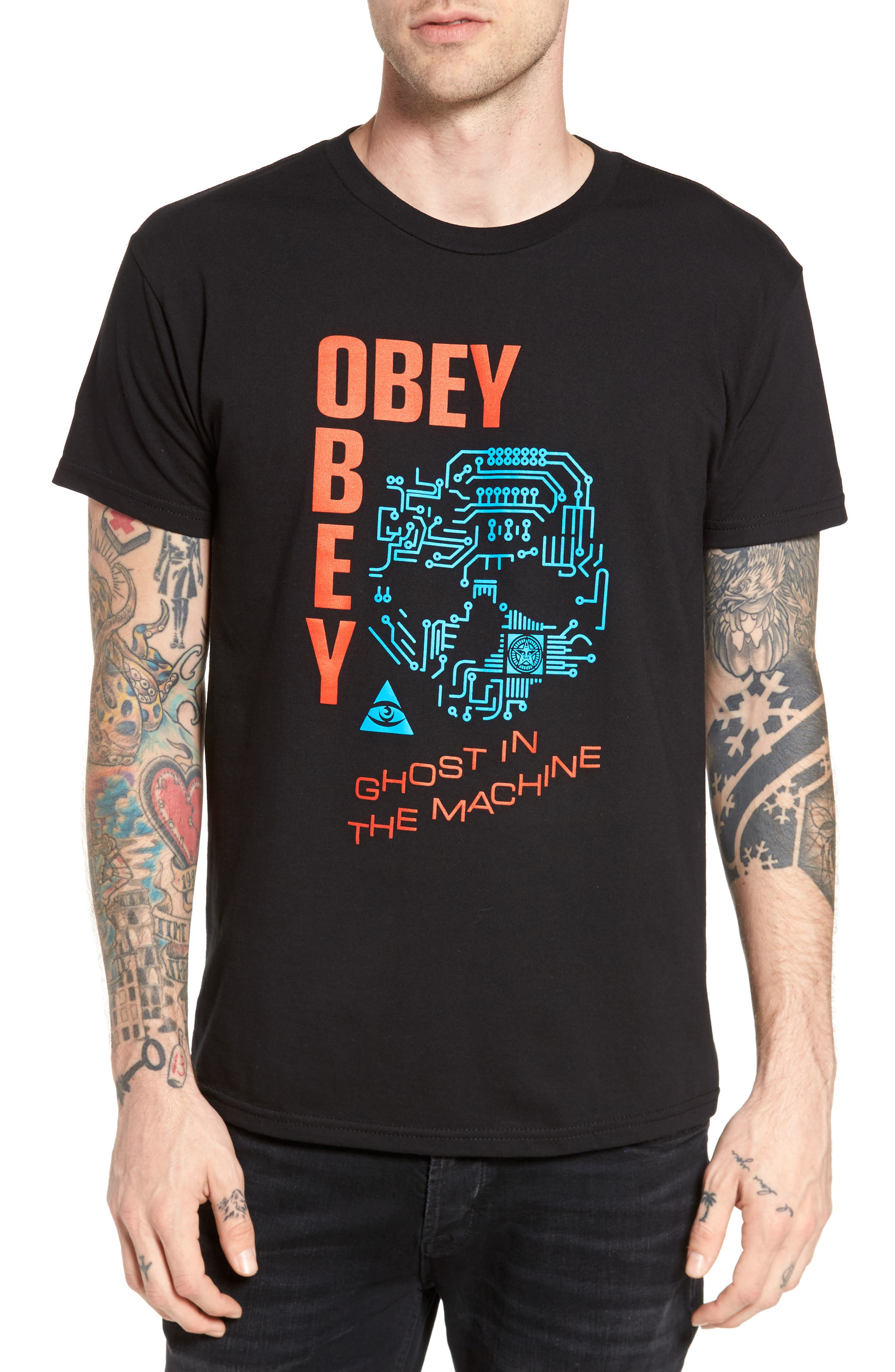 Alternate Image 1 Selected - Obey Ghosts in the Machine Premium Graphic T-Shirt