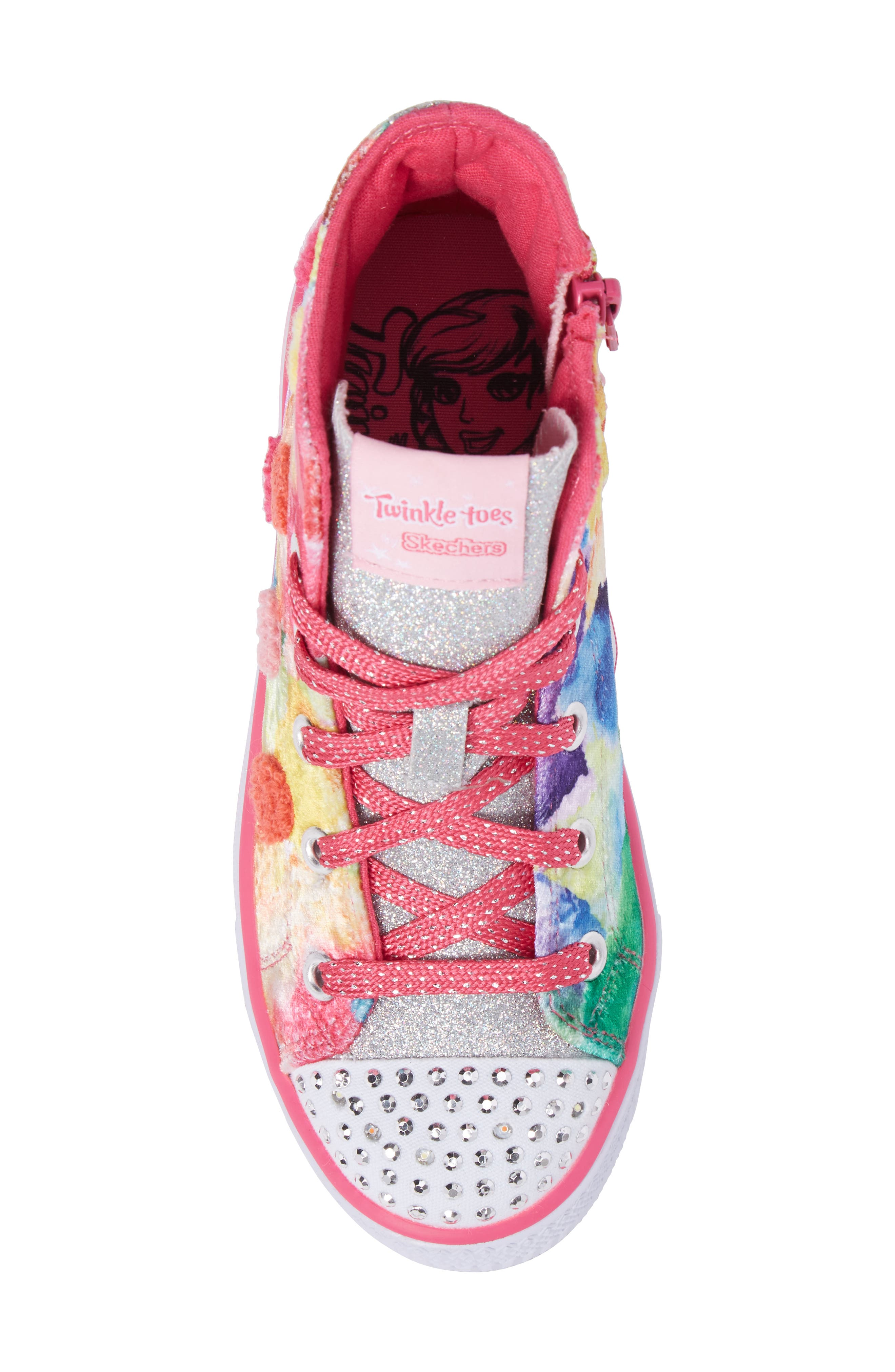 Twinkle Toes Shuffles Light-Up High Top Sneaker,                             Alternate thumbnail 5, color,                             Hot Pink/ Multi