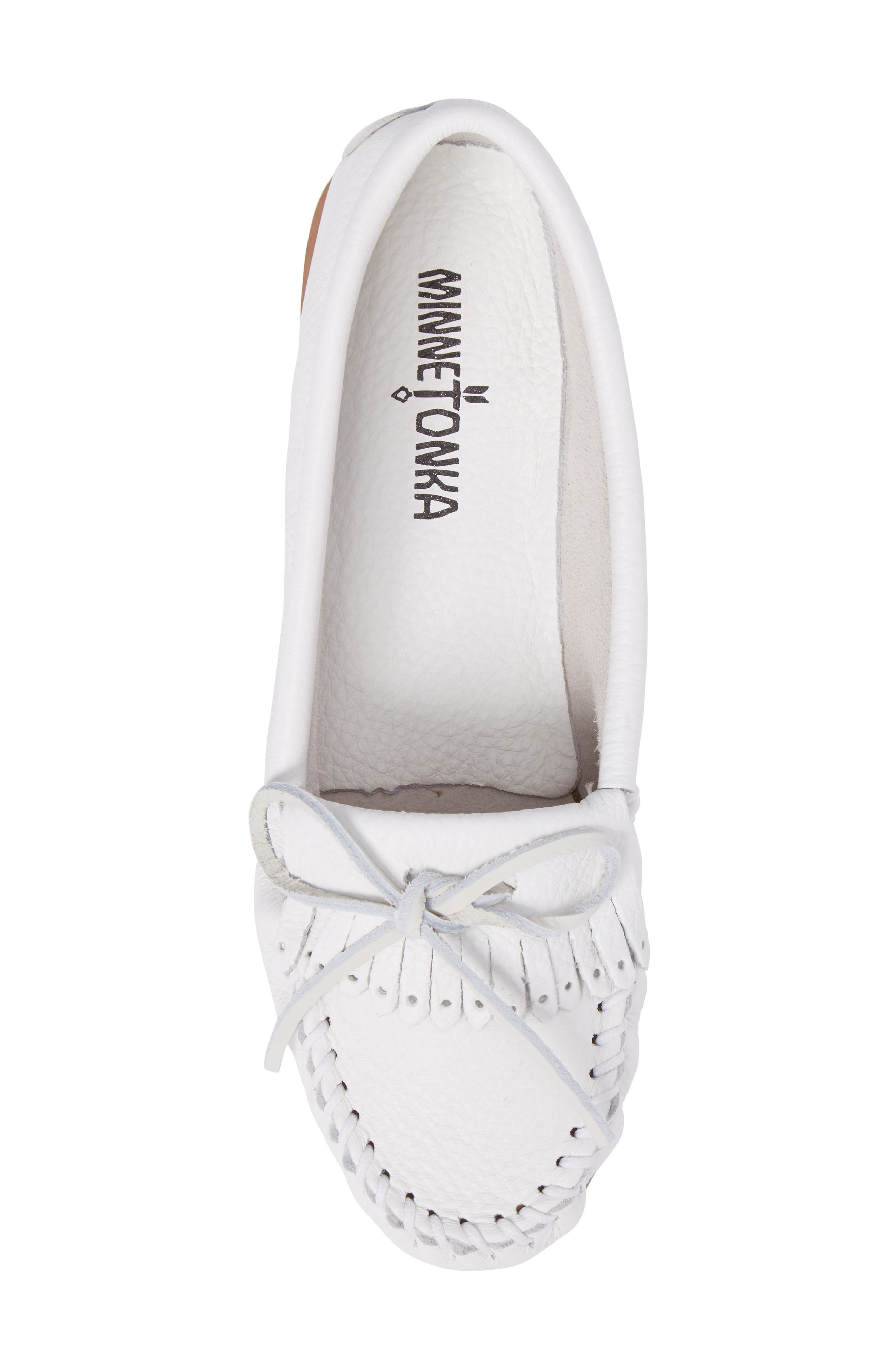 Kilty Moccasin,                             Alternate thumbnail 5, color,                             White Leather