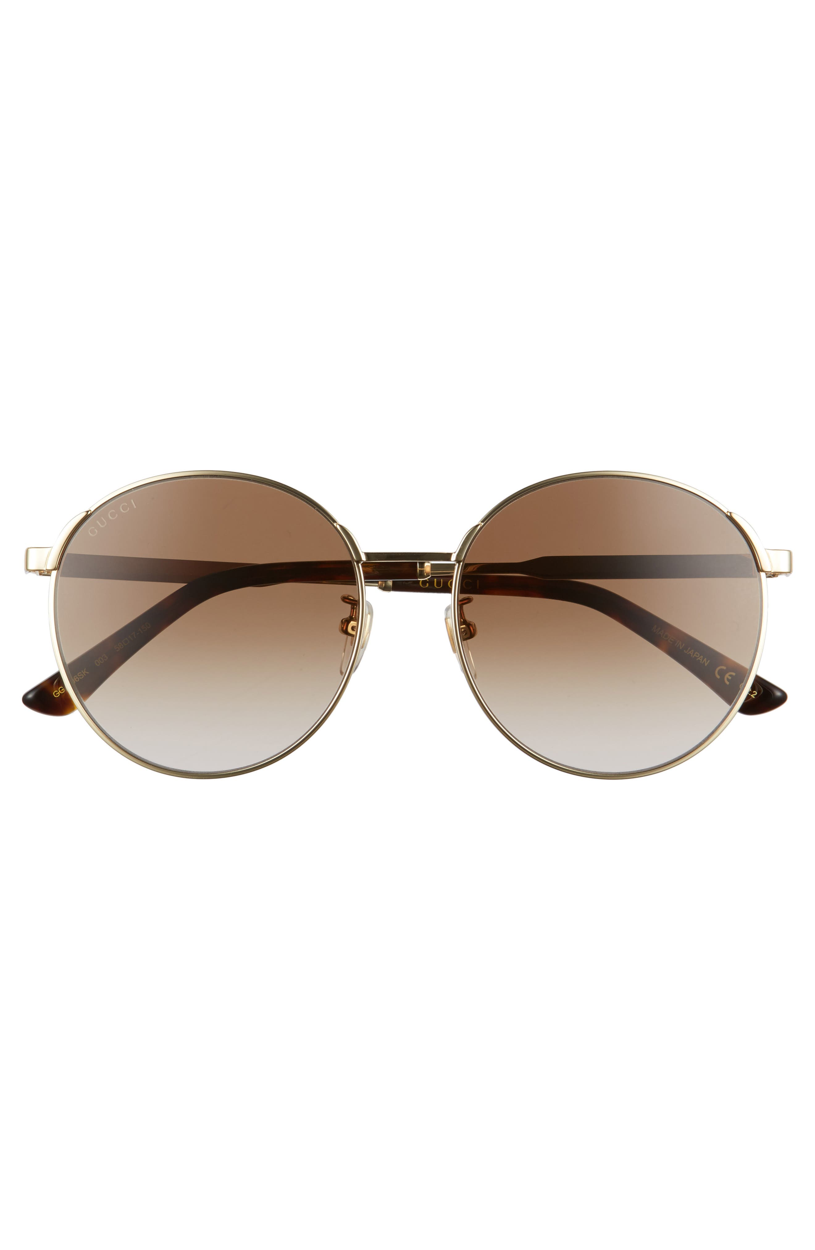 58mm Round Sunglasses,                             Alternate thumbnail 3, color,                             Gold/ Brown