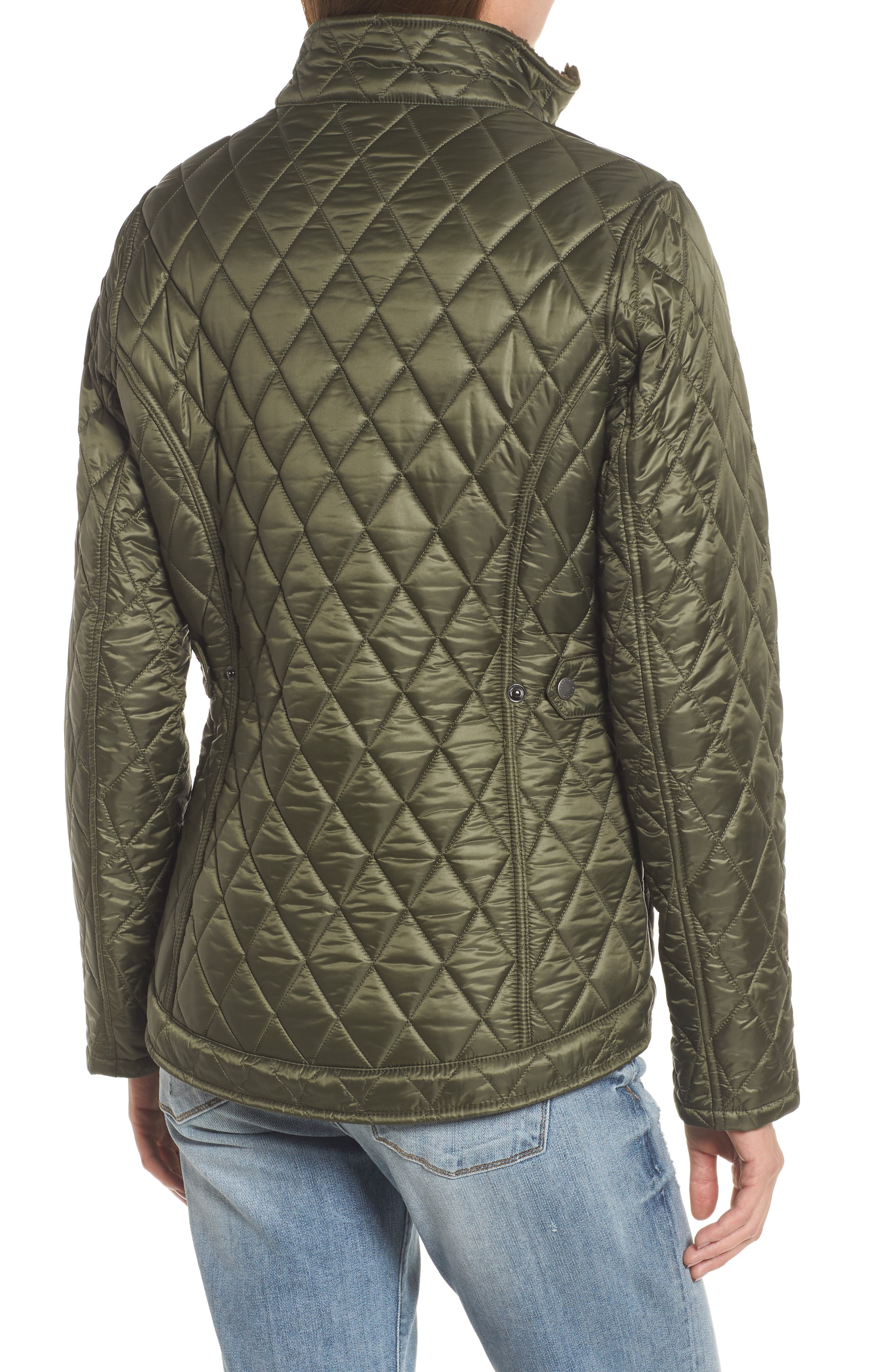 Filey Water Resistant Quilted Jacket,                             Alternate thumbnail 3, color,                             Olive