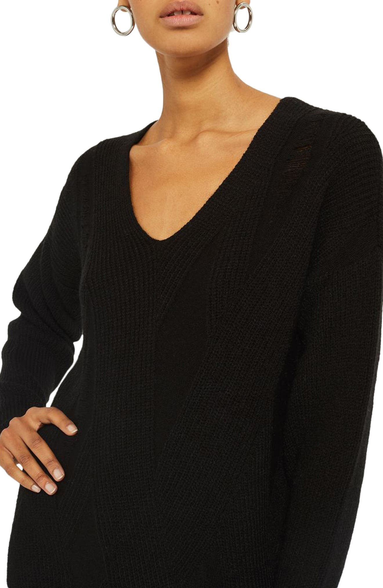 Ladder Stitch Sweater,                             Alternate thumbnail 3, color,                             Black