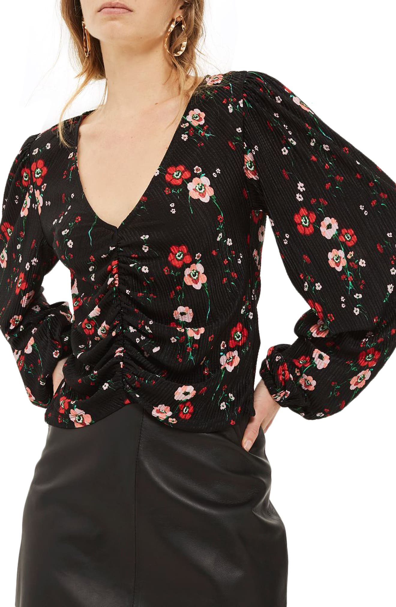 Floral Bloom Blouson Top,                             Main thumbnail 1, color,                             Black Multi