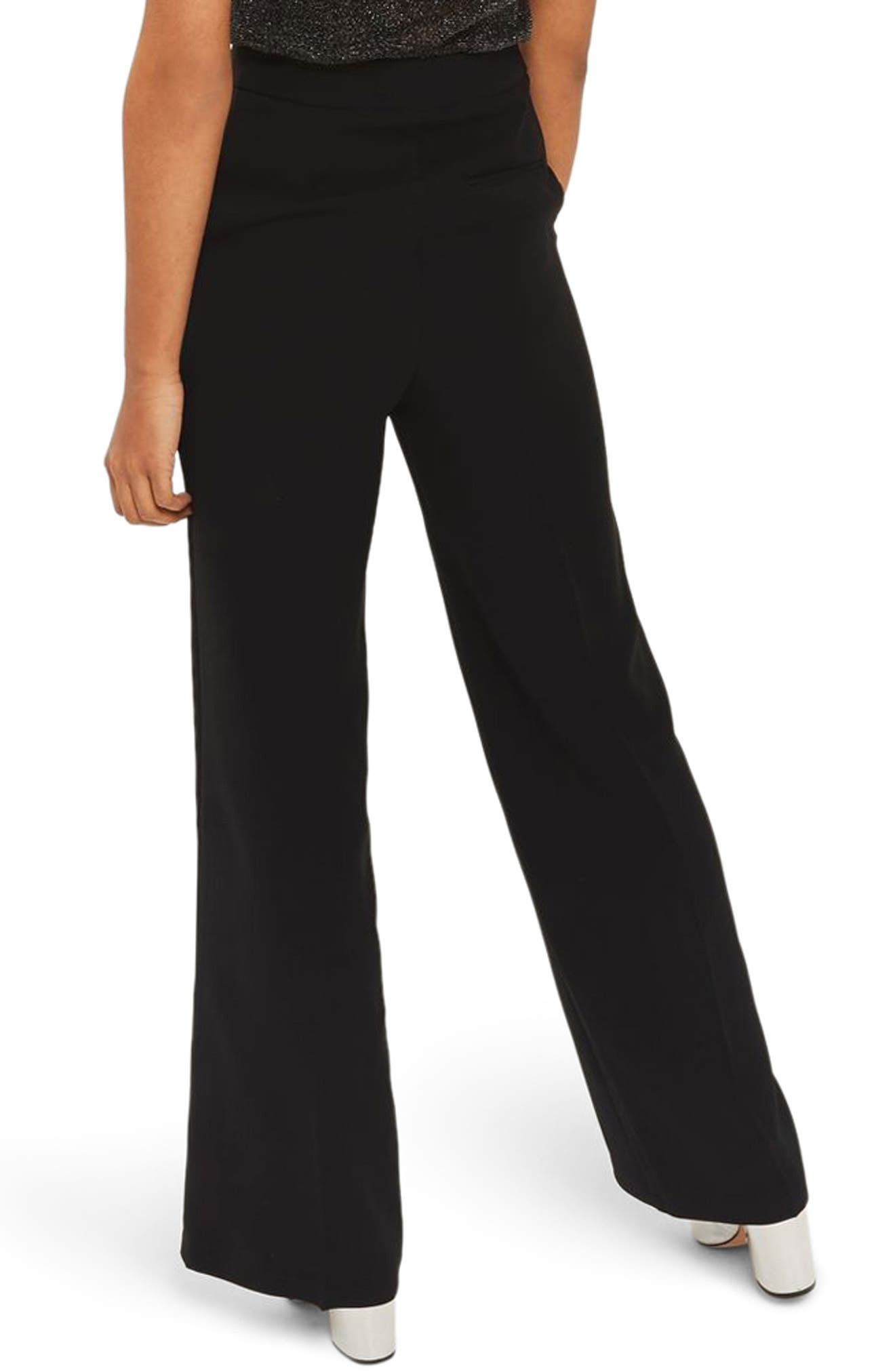 High Waist Wide Leg Trousers,                             Alternate thumbnail 2, color,                             Black