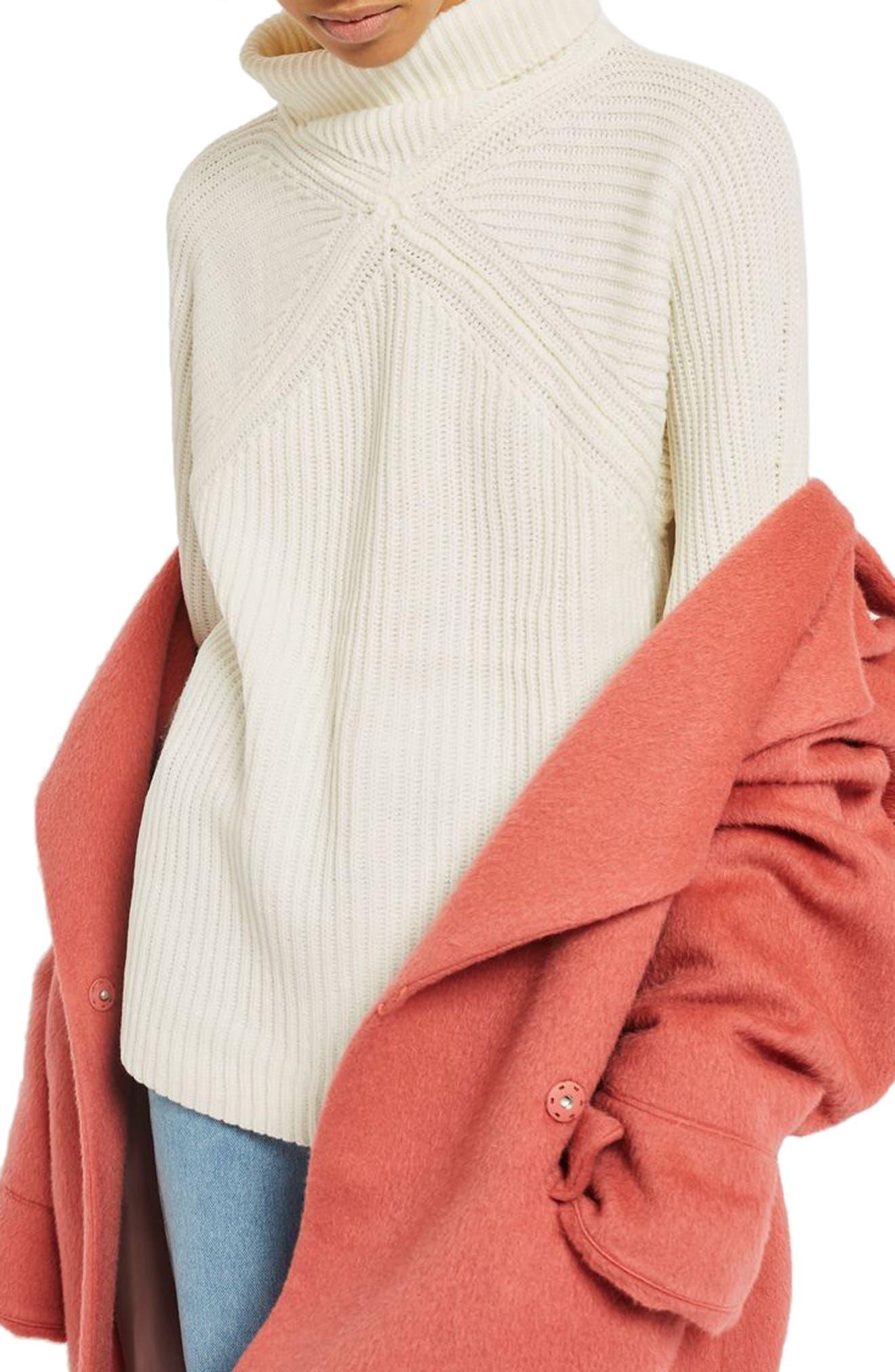 Diamond Stitch Turtleneck Sweater,                         Main,                         color, Cream