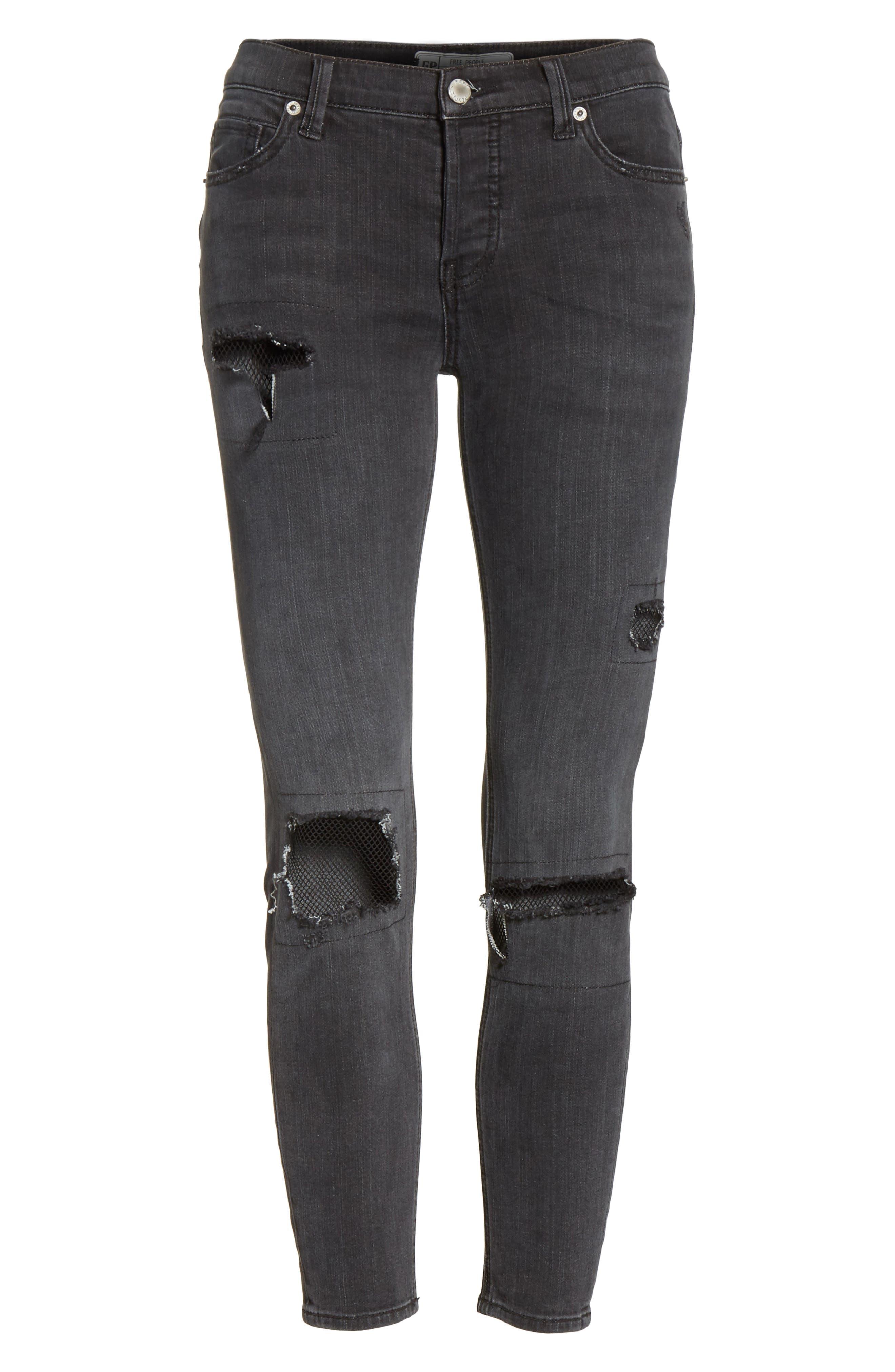 Fishnet Crop Skinny Jeans,                             Alternate thumbnail 6, color,                             Black
