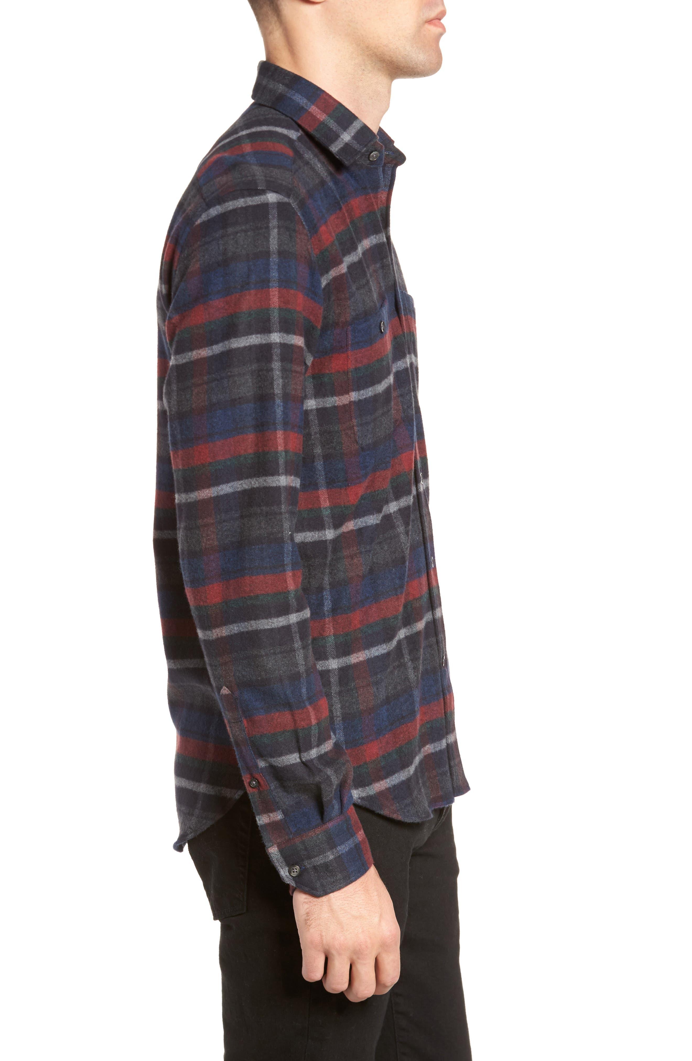 Plaid Flannel Sport Shirt,                             Alternate thumbnail 3, color,                             Charcoal
