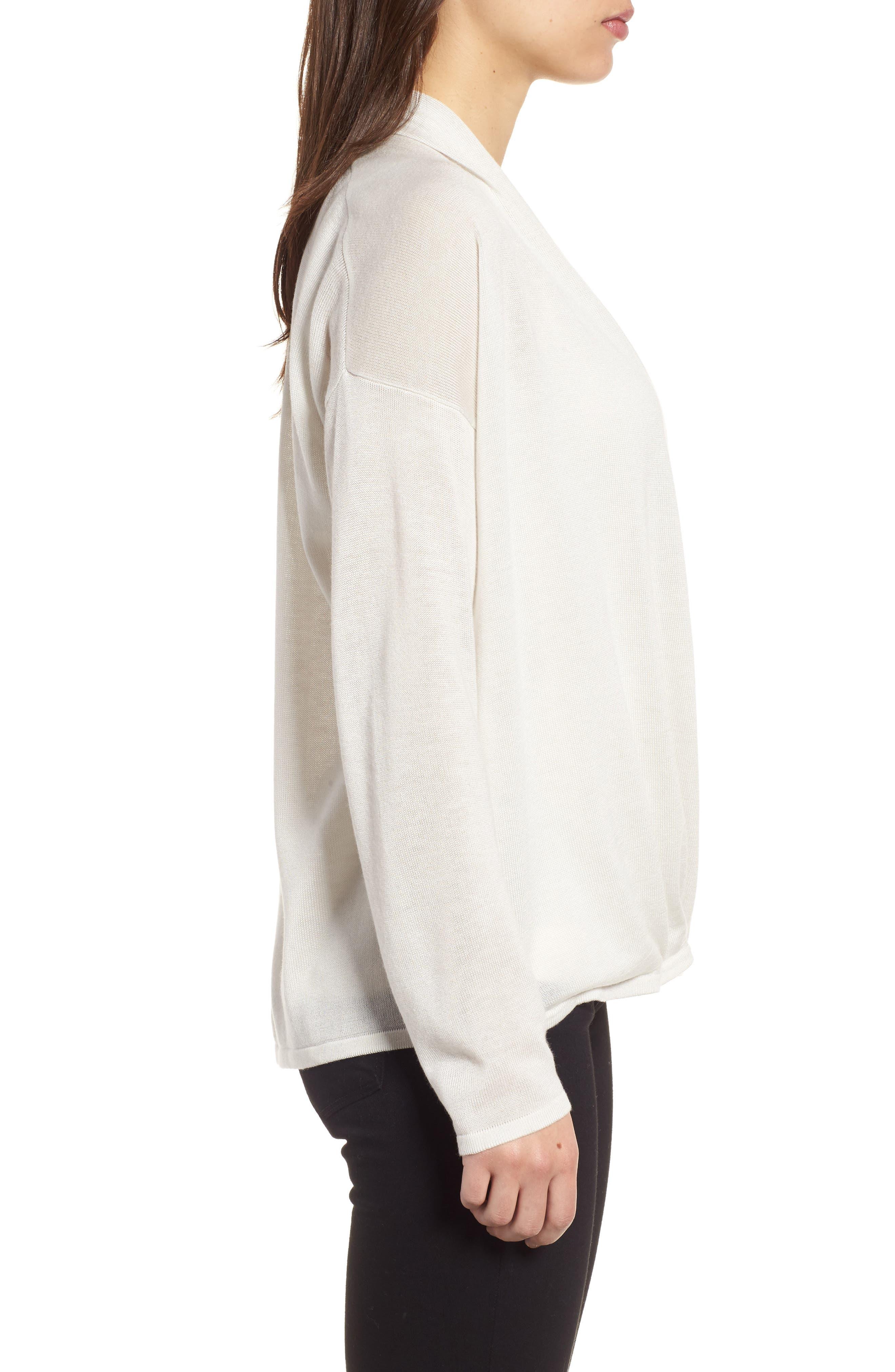 Faux Wrap Tencel<sup>®</sup> Lyocell & Merino Wool Sweater,                             Alternate thumbnail 3, color,                             Bone