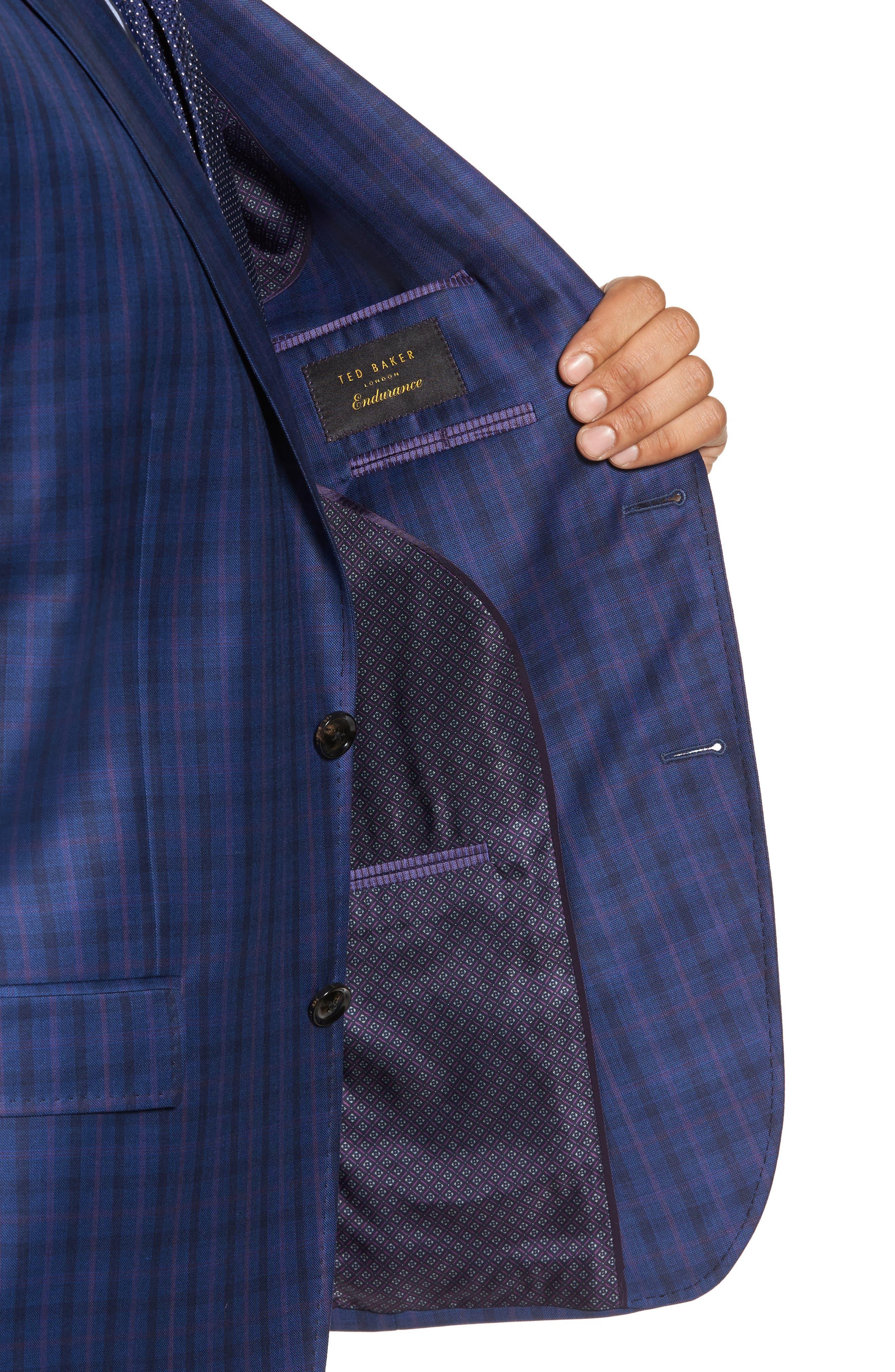 Konan Trim Fit Plaid Wool Sport Coat,                             Alternate thumbnail 4, color,                             Blue W/Light Berry Windowpane