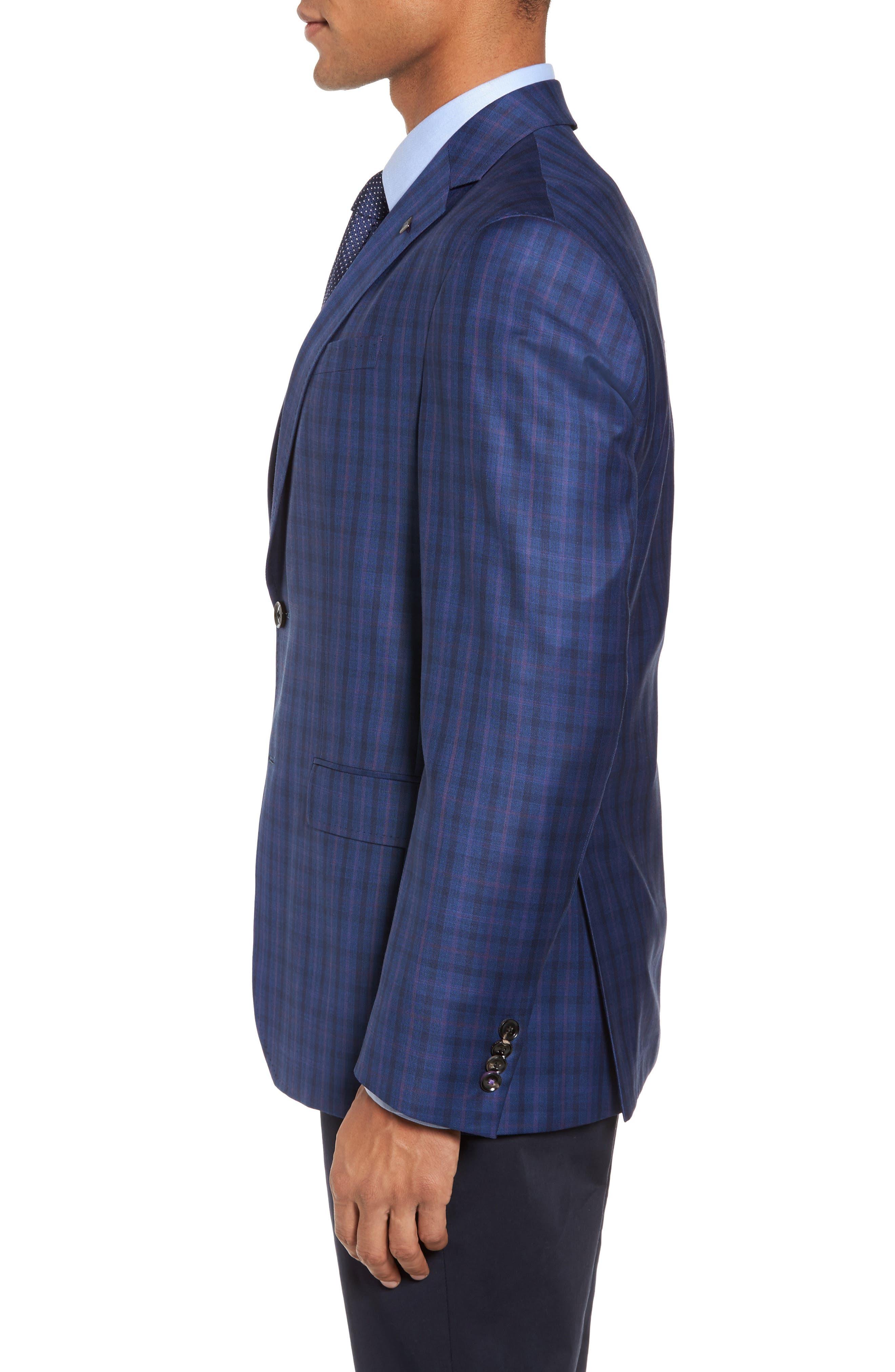 Konan Trim Fit Plaid Wool Sport Coat,                             Alternate thumbnail 3, color,                             Blue W/Light Berry Windowpane