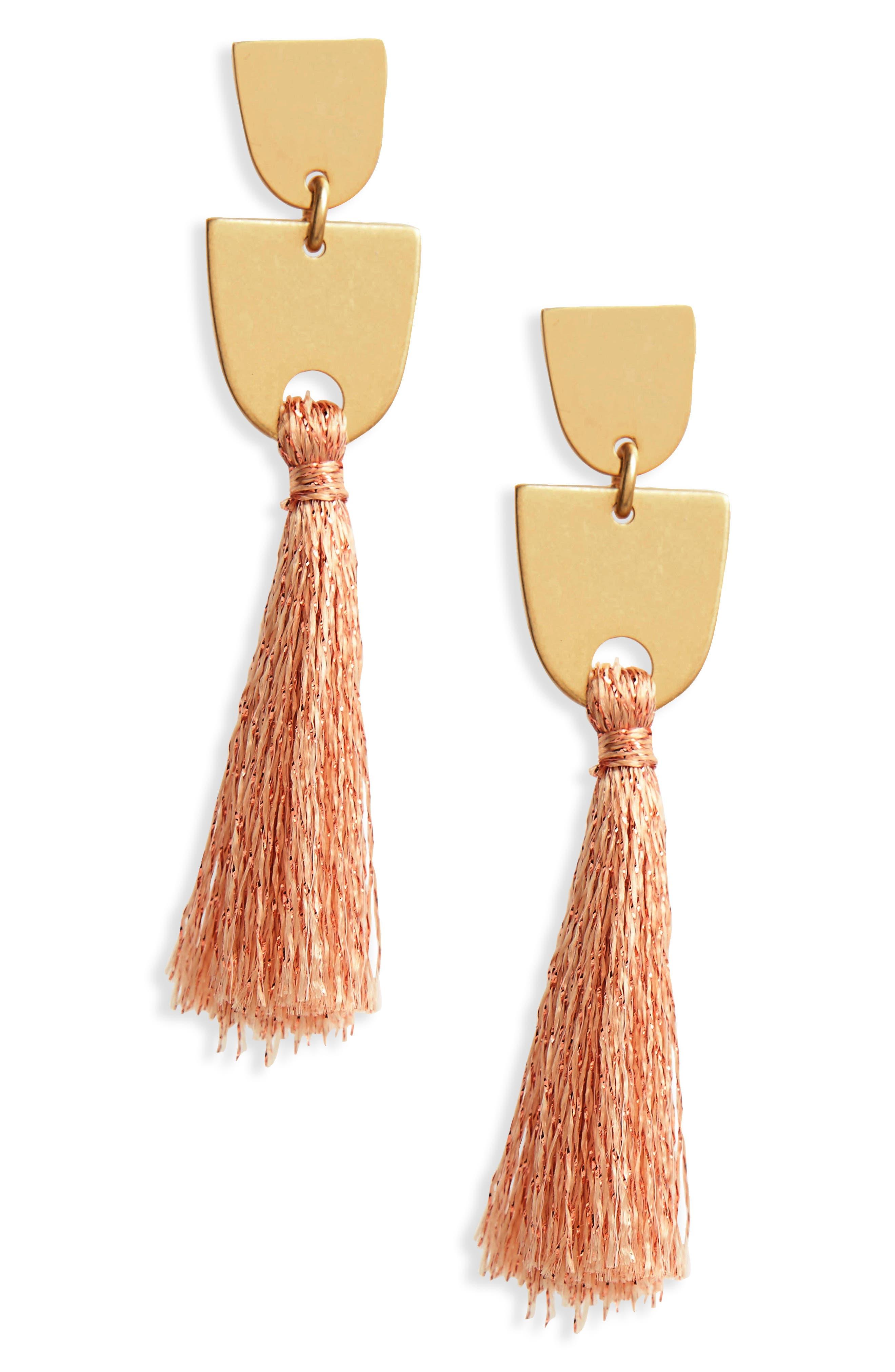 Tassel Drop Earrings,                         Main,                         color, Metallic Copper