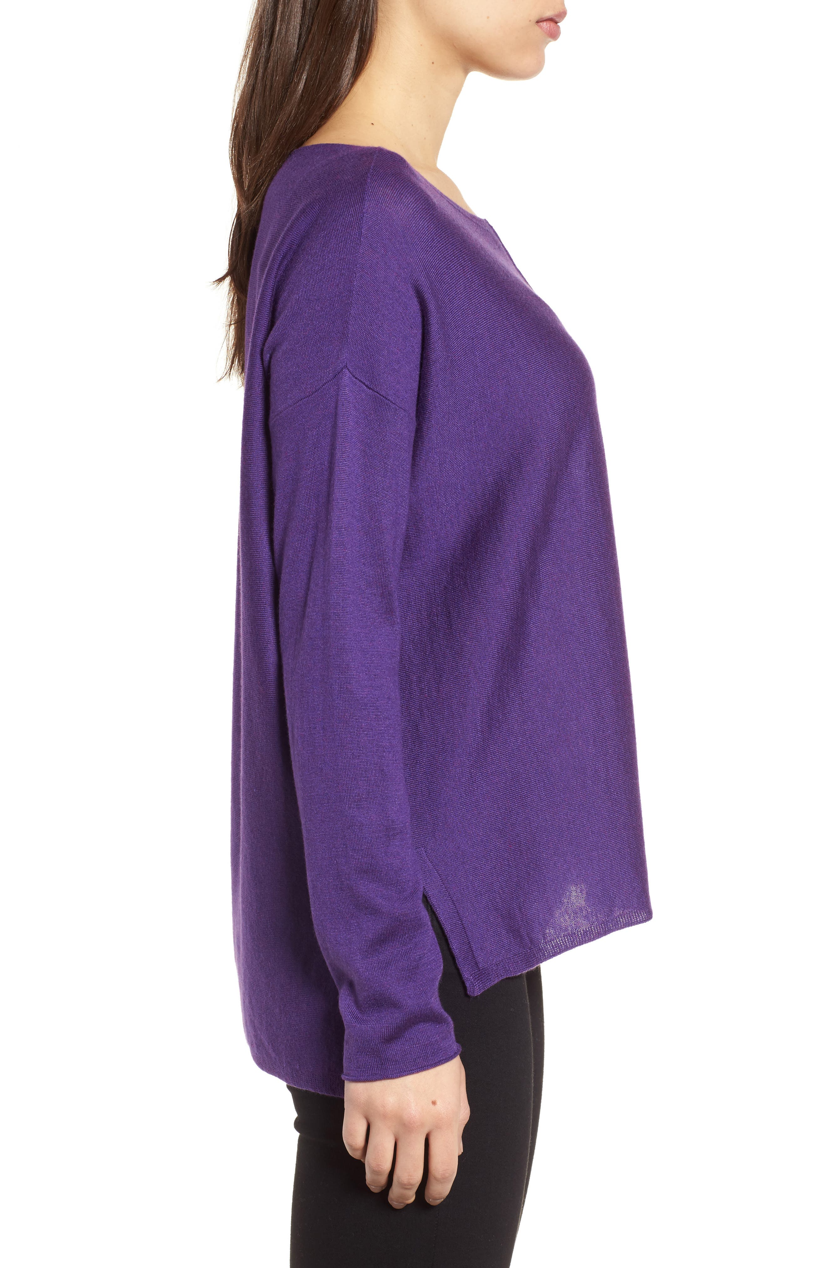 Tencel<sup>®</sup> Lyocell Blend High/Low Sweater,                             Alternate thumbnail 3, color,                             Ultraviolet