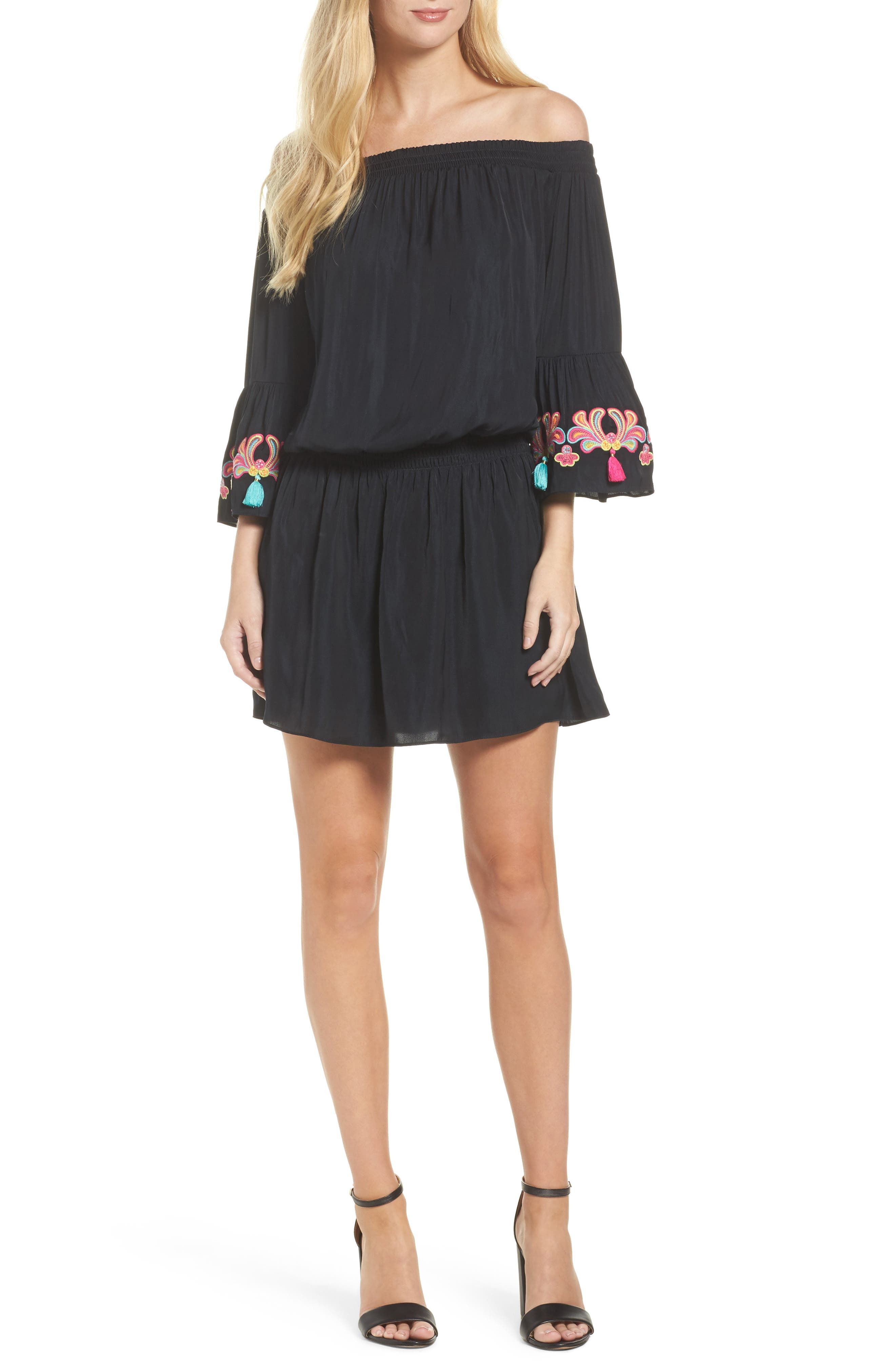 Polly Off the Shoulder Dress,                         Main,                         color, Onyx