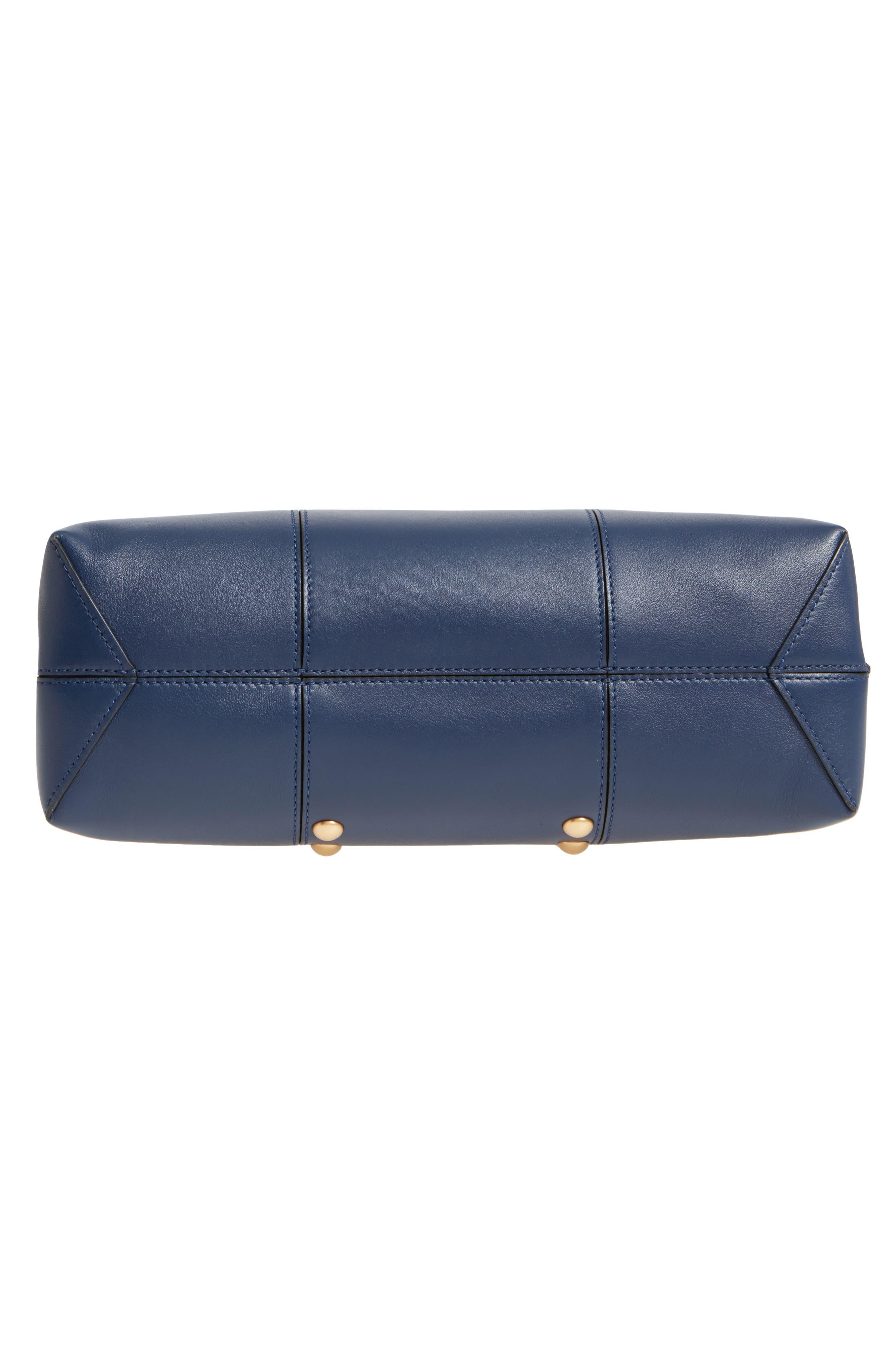 Block-T Studded Leather Top Handle Satchel,                             Alternate thumbnail 6, color,                             Royal Navy