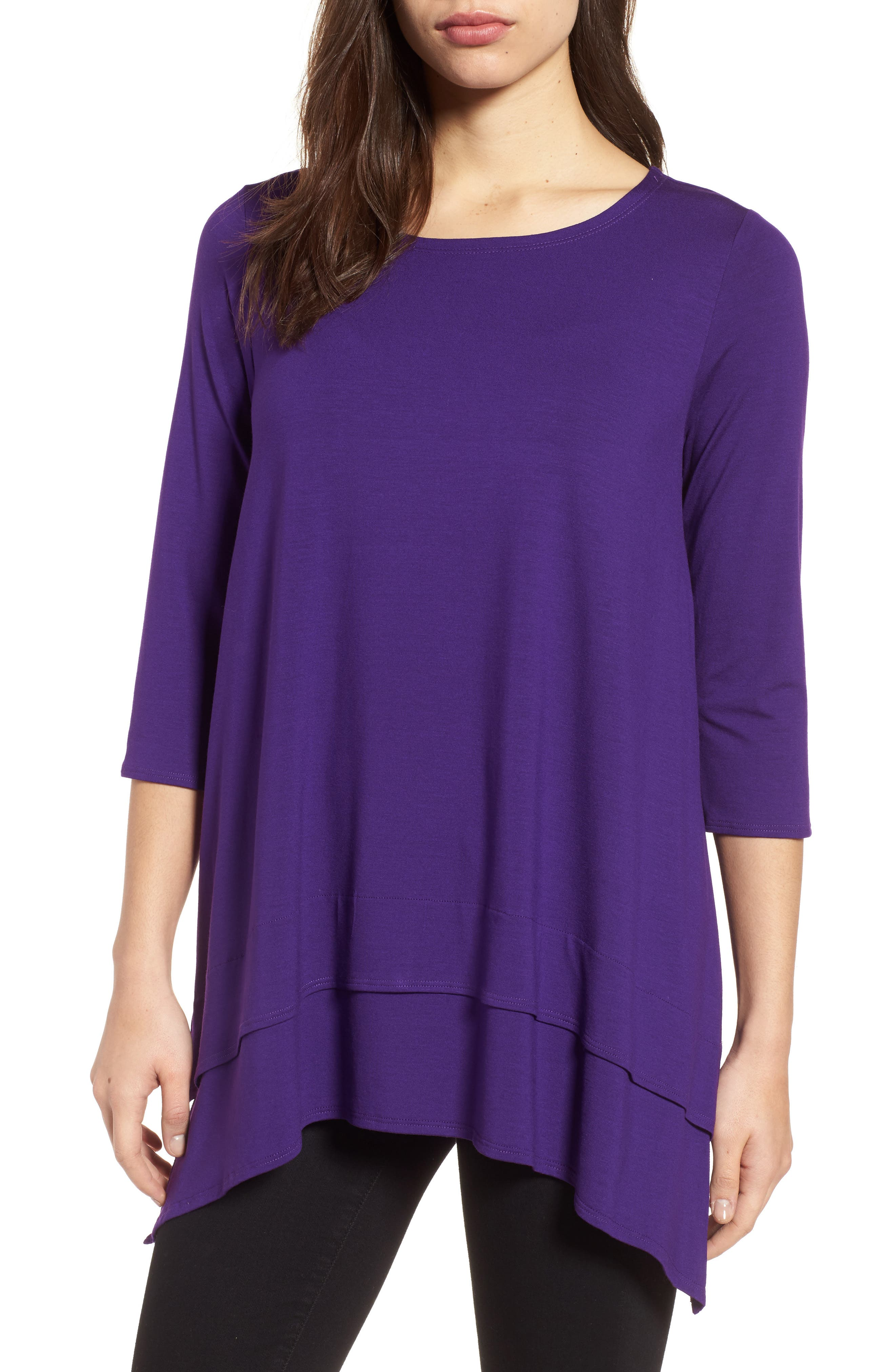 Tiered Handkerchief Hem Tunic,                             Main thumbnail 1, color,                             Ultraviolet