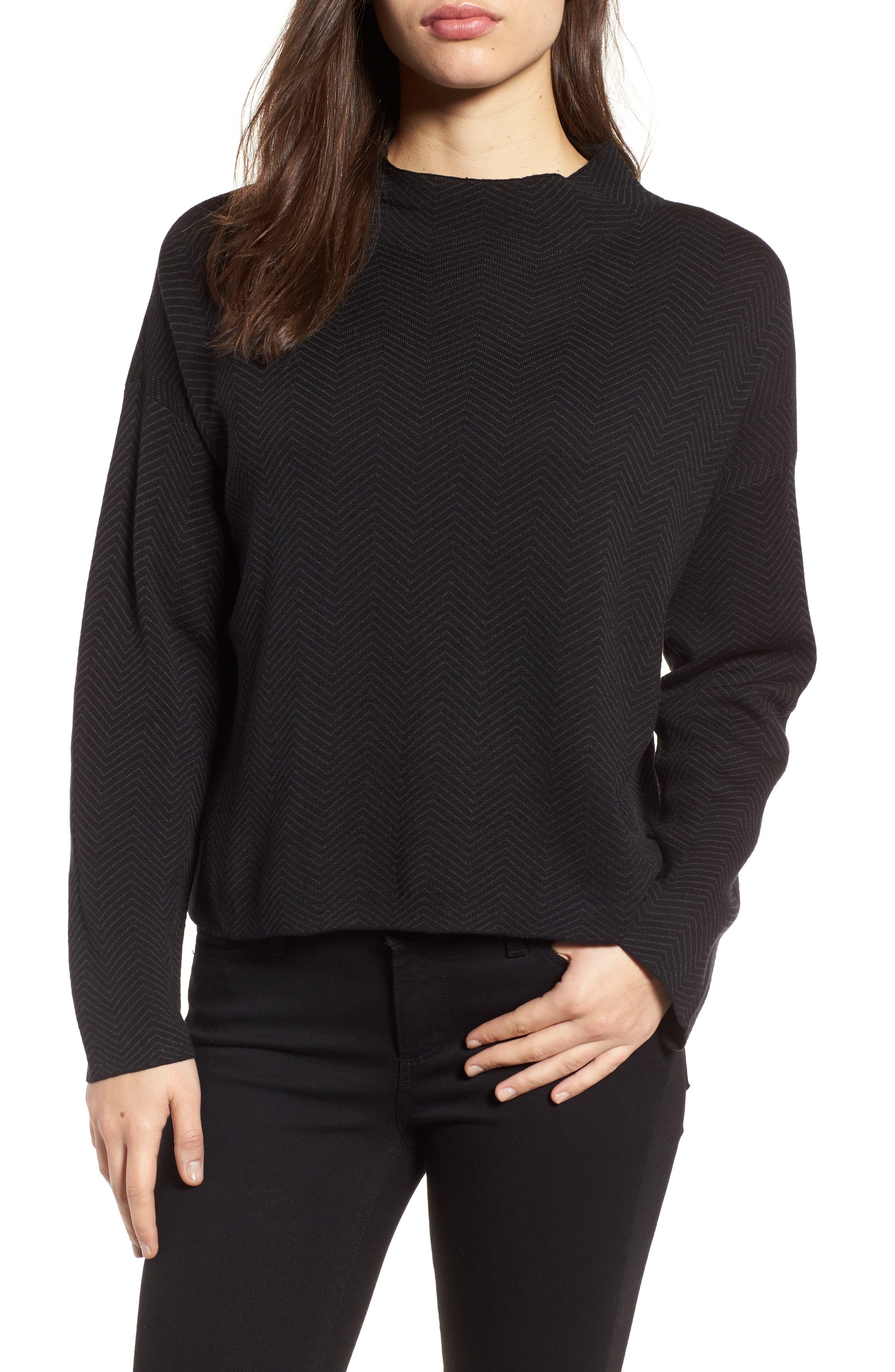 Main Image - Eileen Fisher Silk & Organic Cotton Jacquard Top