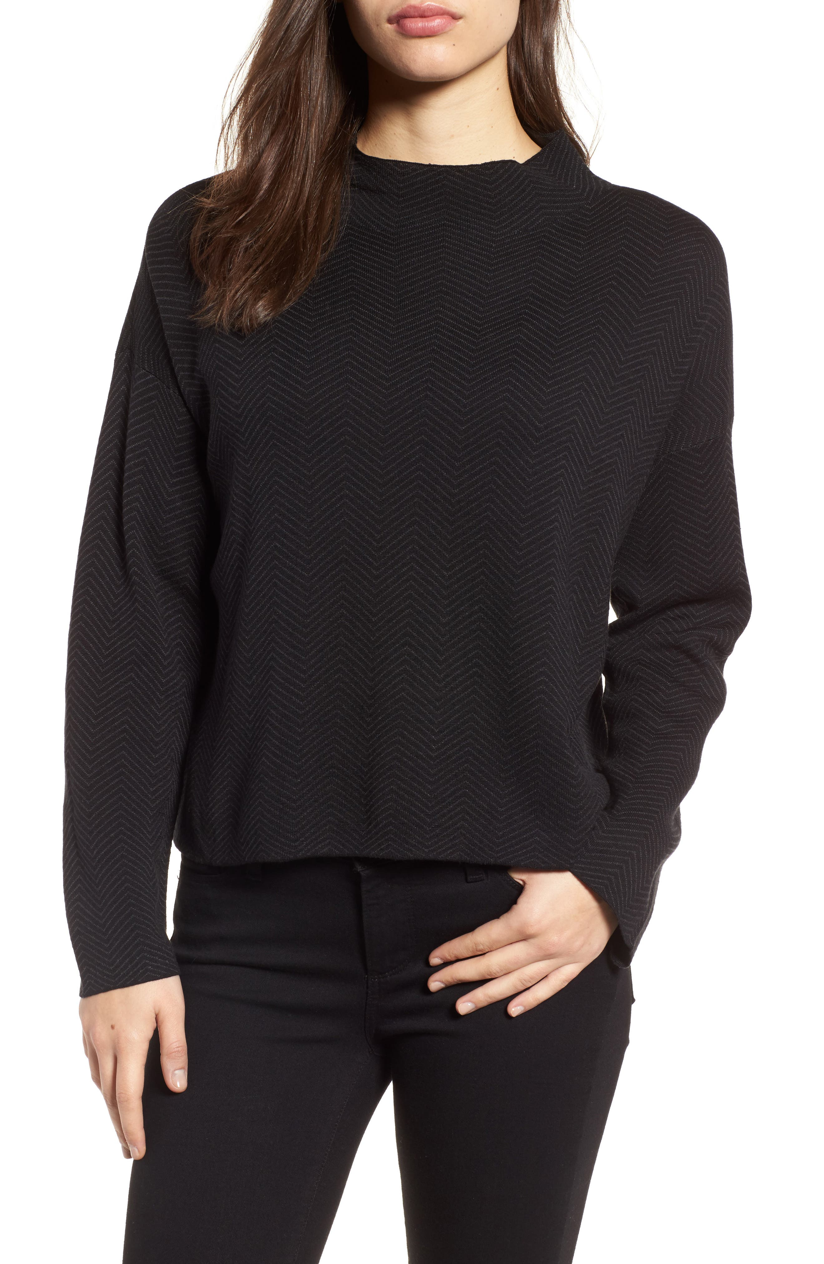 Silk & Organic Cotton Jacquard Top,                         Main,                         color, Black Charcoal
