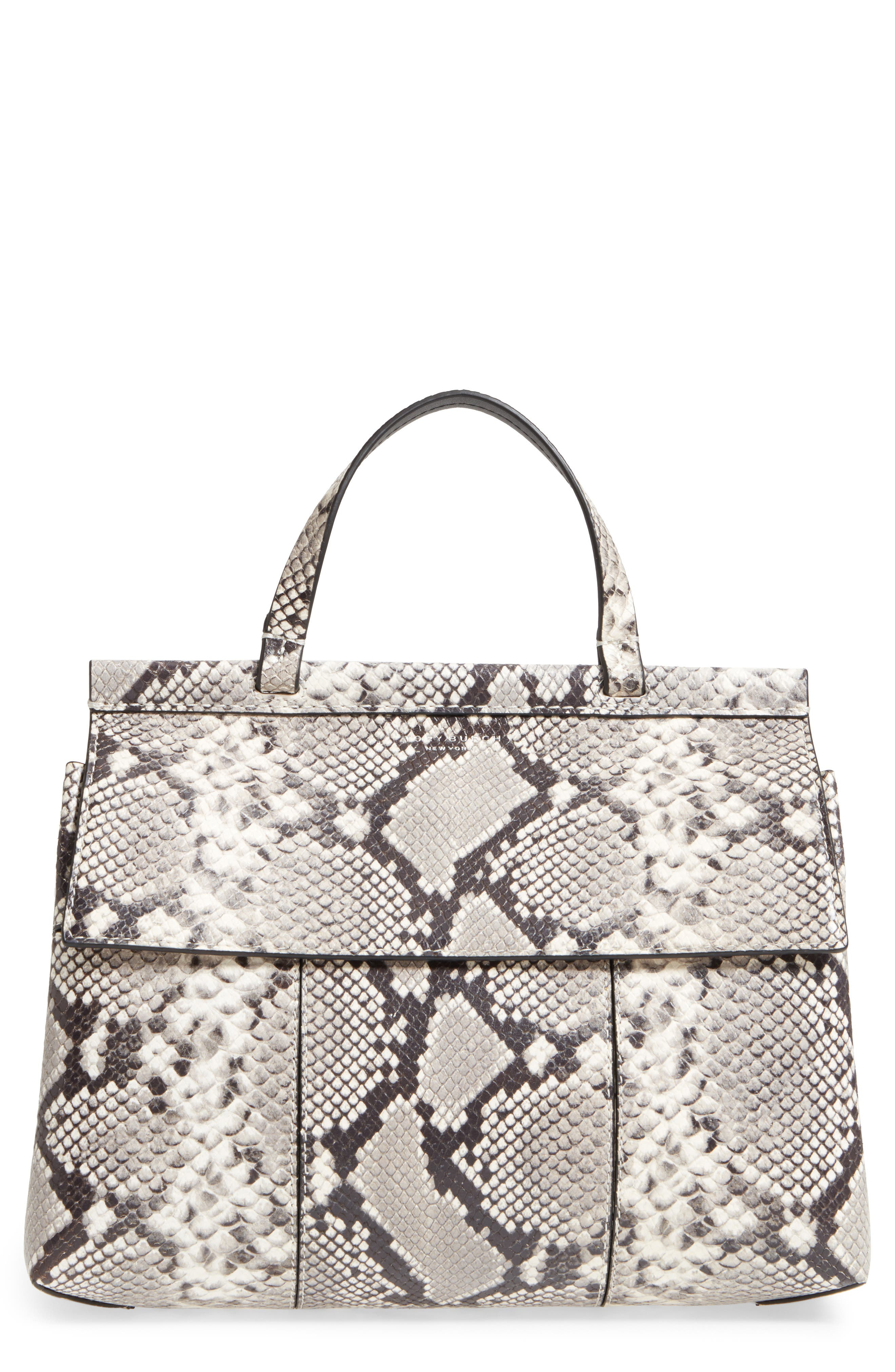 Tory Burch Block-T Snakeskin Embossed Leather Satchel