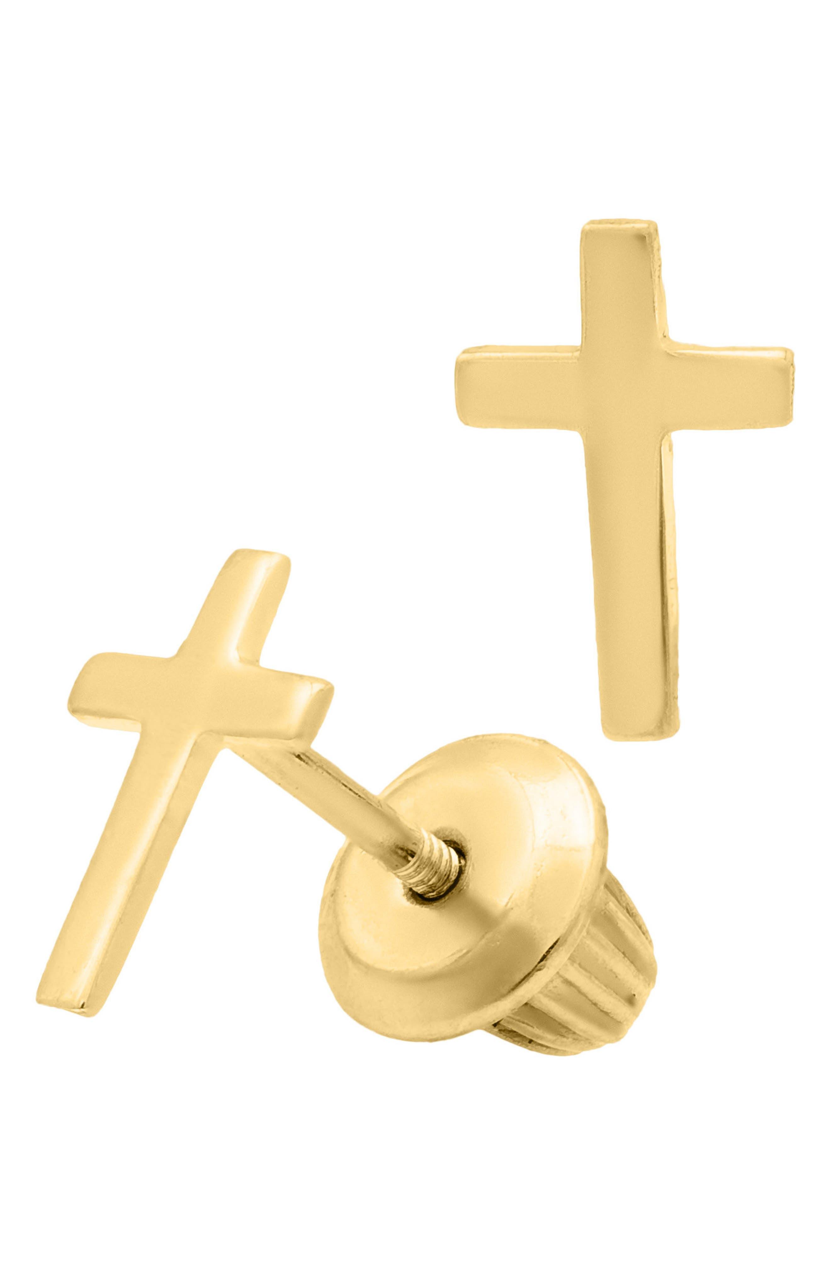 14k Gold Cross Stud Earrings,                         Main,                         color, Gold