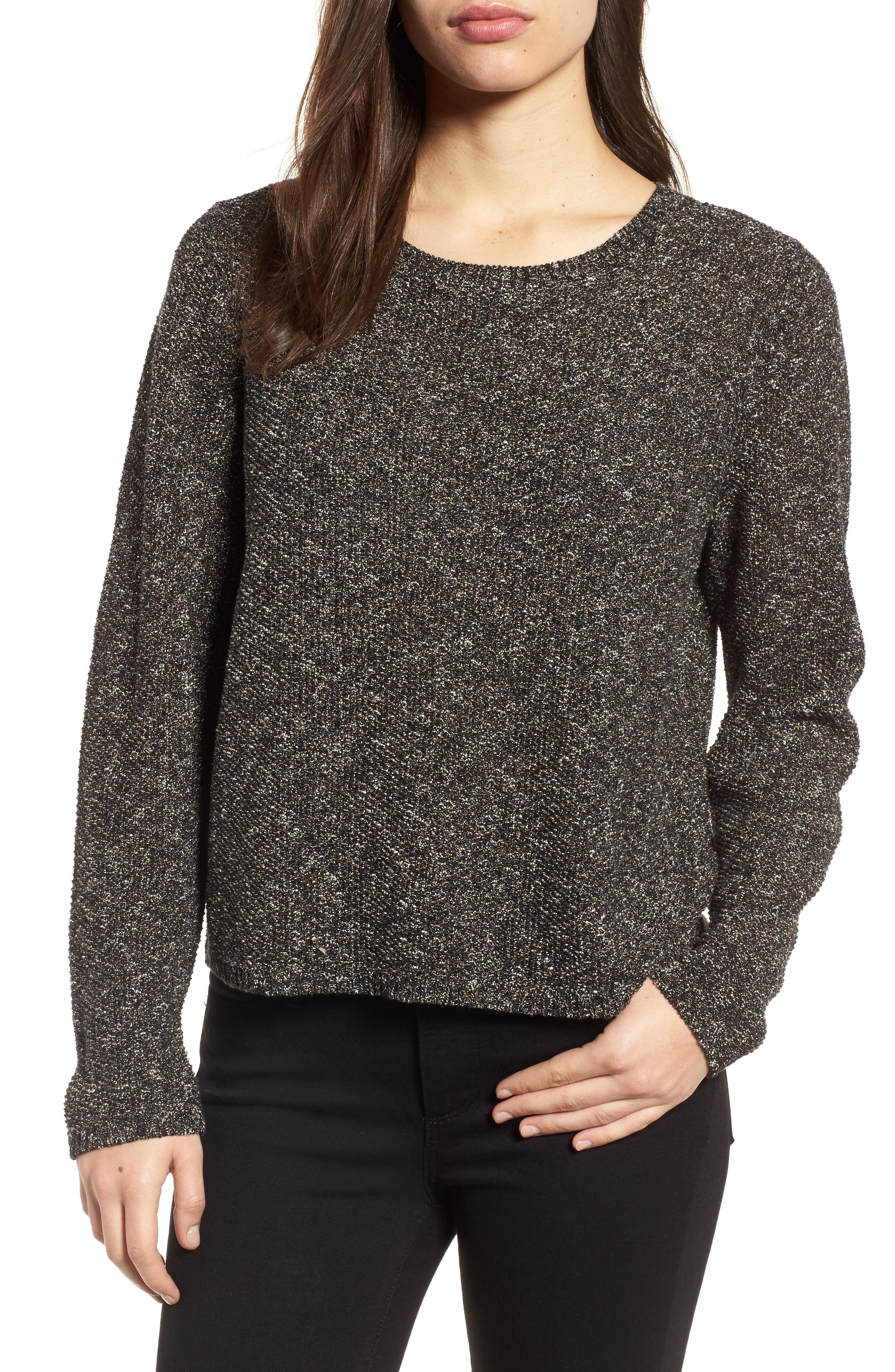 Tweed Knit Sweater,                             Main thumbnail 1, color,                             Black