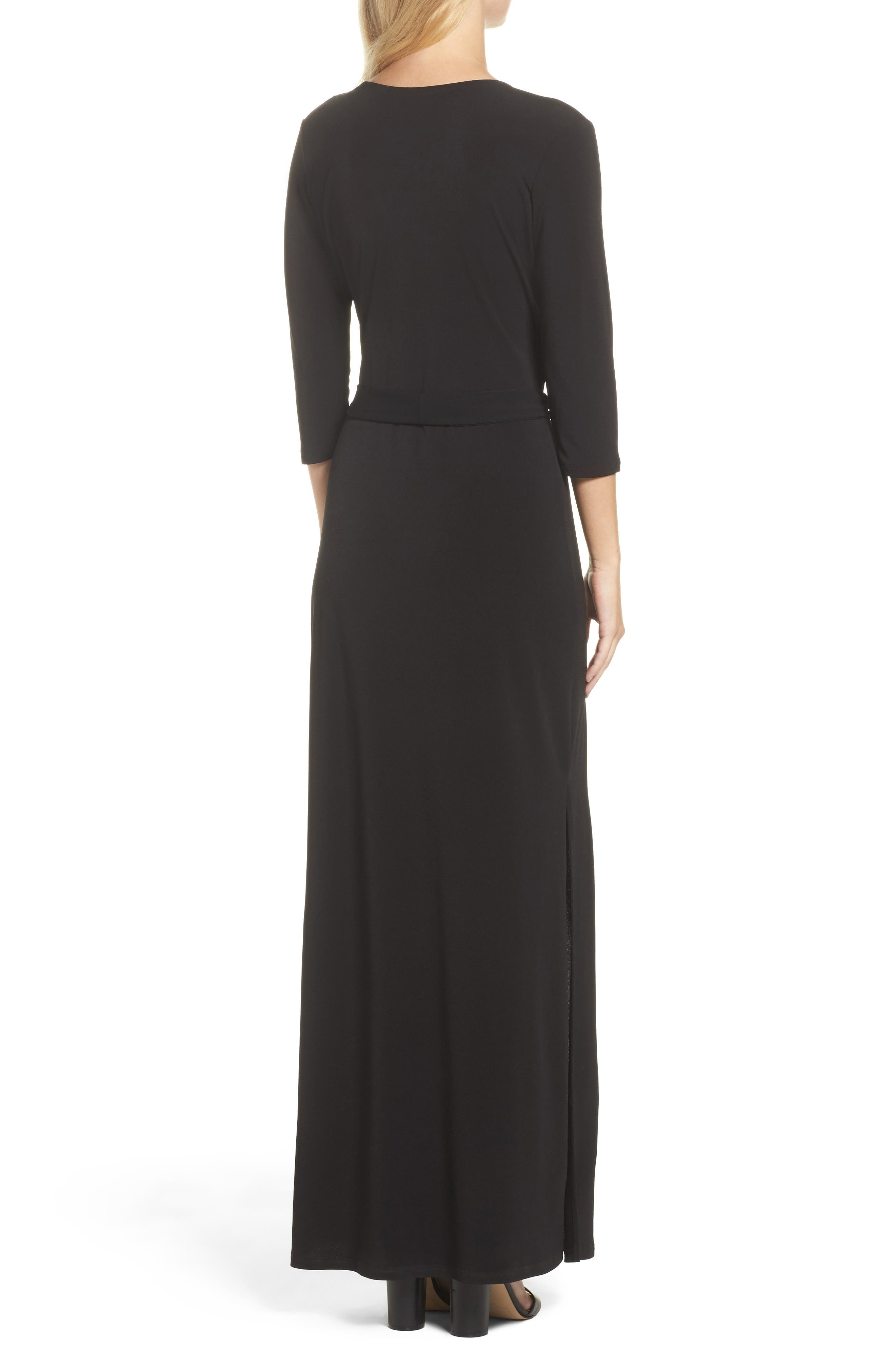 Perfect Wrap Maxi Dress,                             Alternate thumbnail 2, color,                             Black Crepe