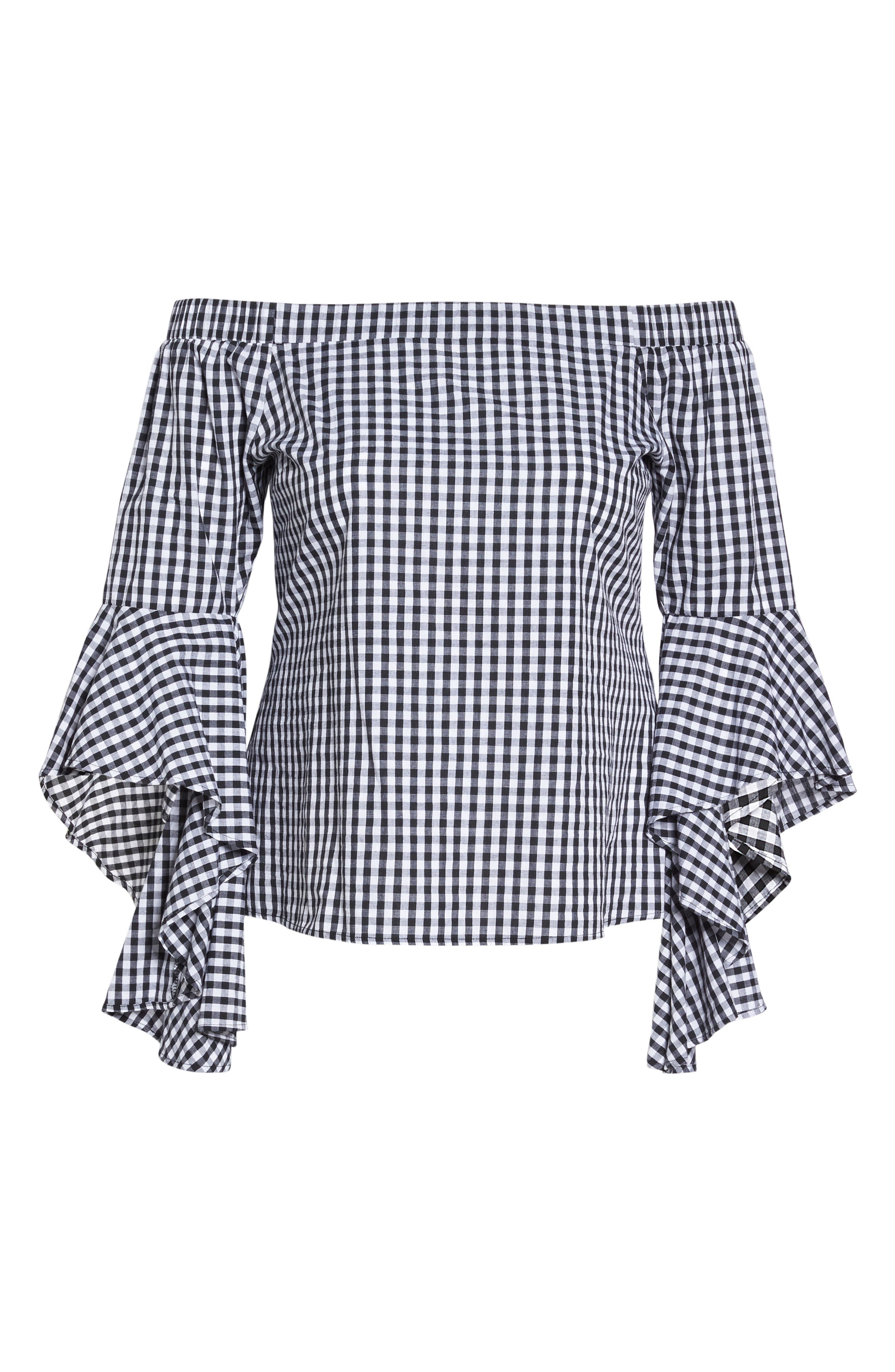 Alternate Image 7  - City Chic Bell Sleeve Off the Shoulder Shirt (Plus Size)