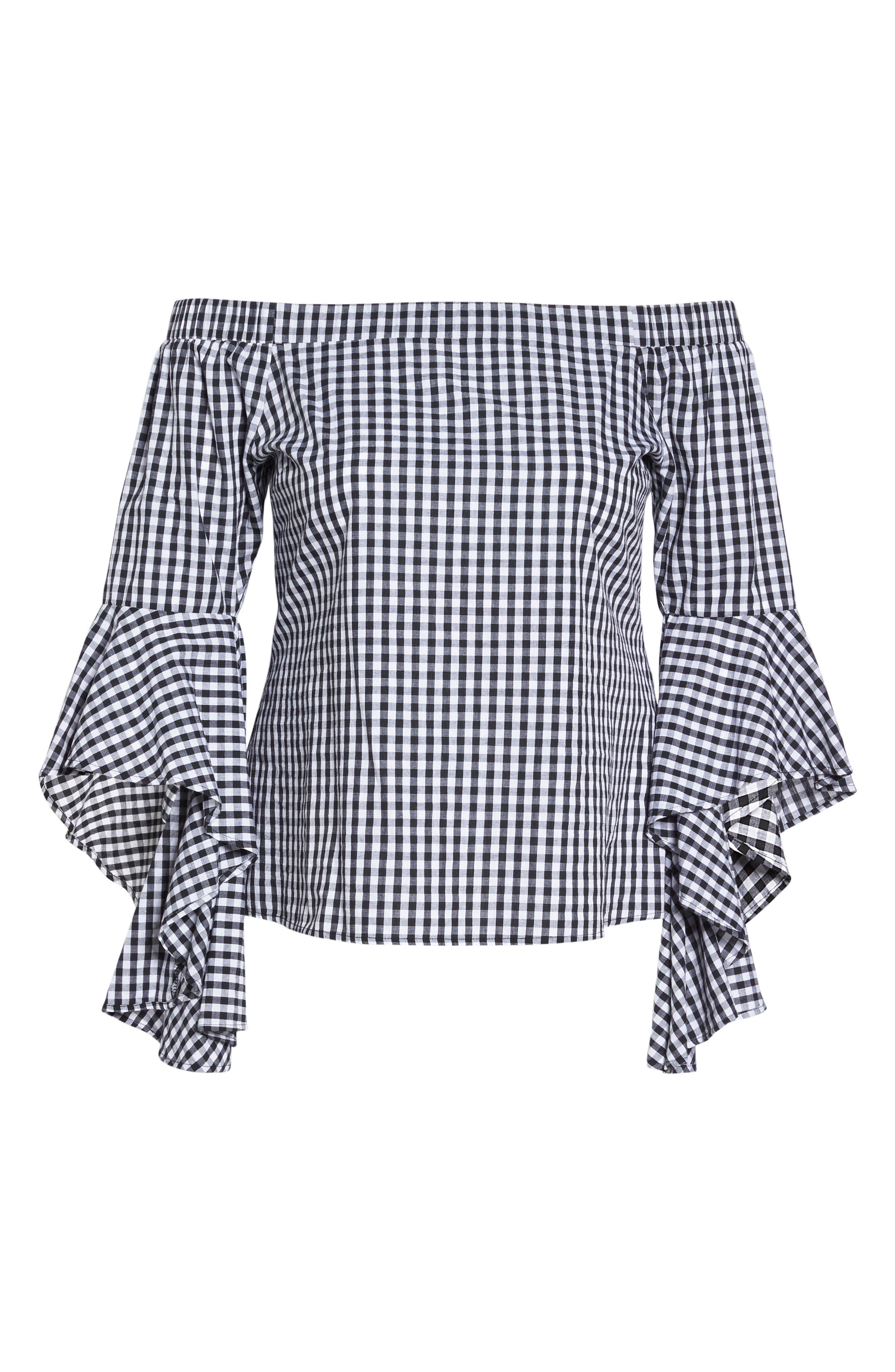 Bell Sleeve Off the Shoulder Shirt,                             Alternate thumbnail 7, color,                             Black / White