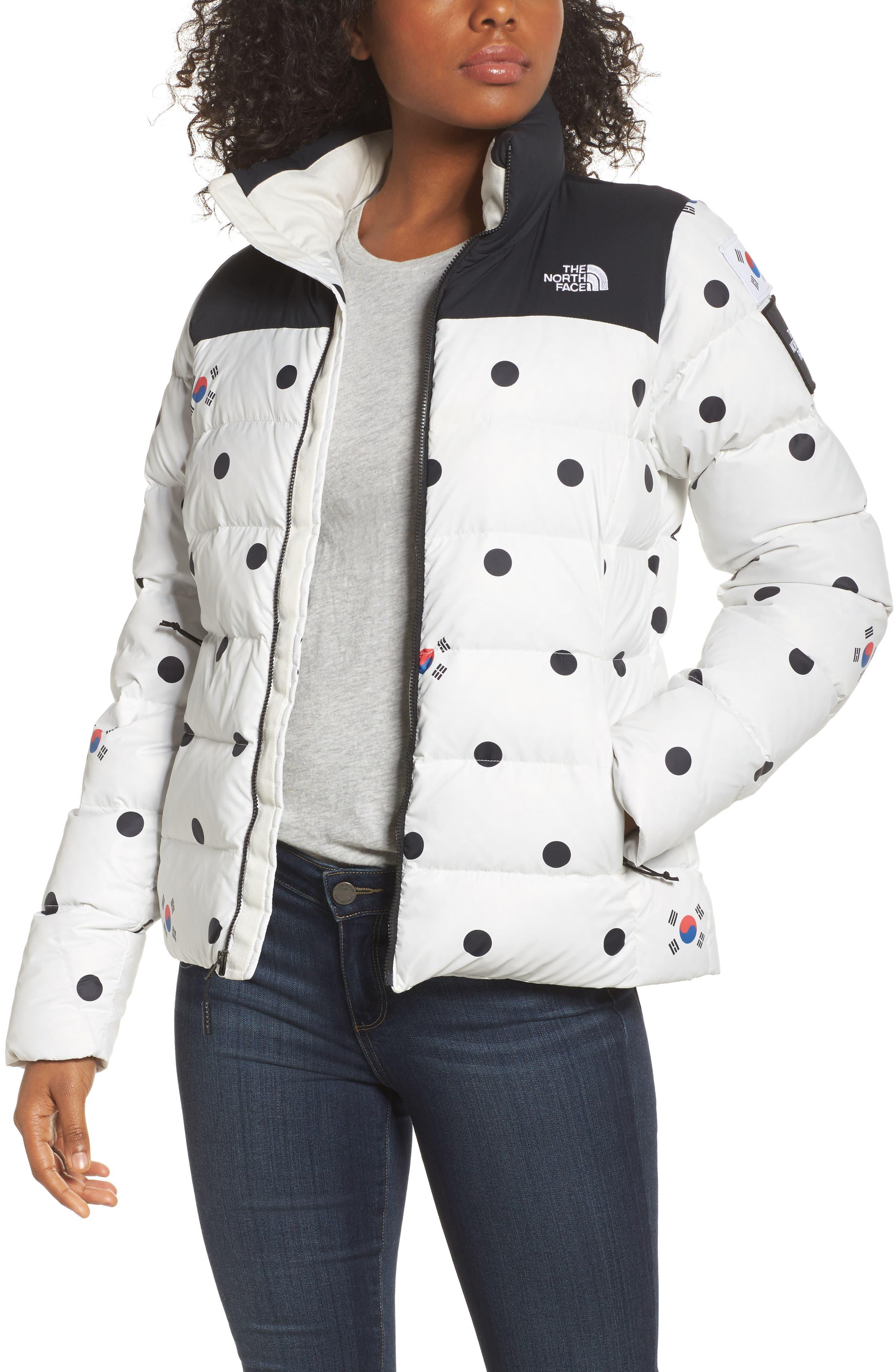 International Collection Nuptse 700-Fill Power Down Puffer Jacket,                         Main,                         color, Vaporous Grey Dot Print