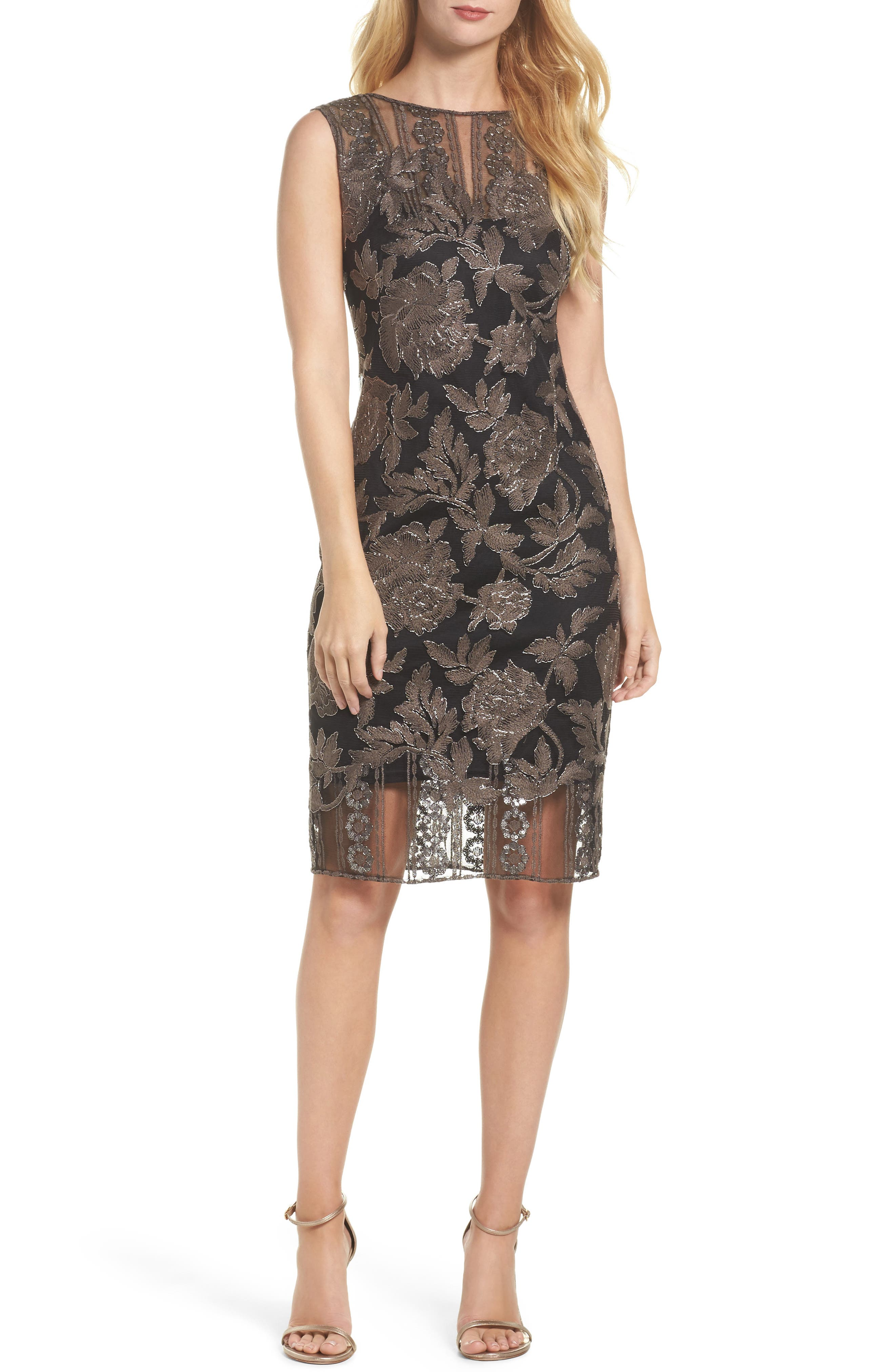 Embroidered Lace Sheath Dress,                             Main thumbnail 1, color,                             Dark Pearl/ Black