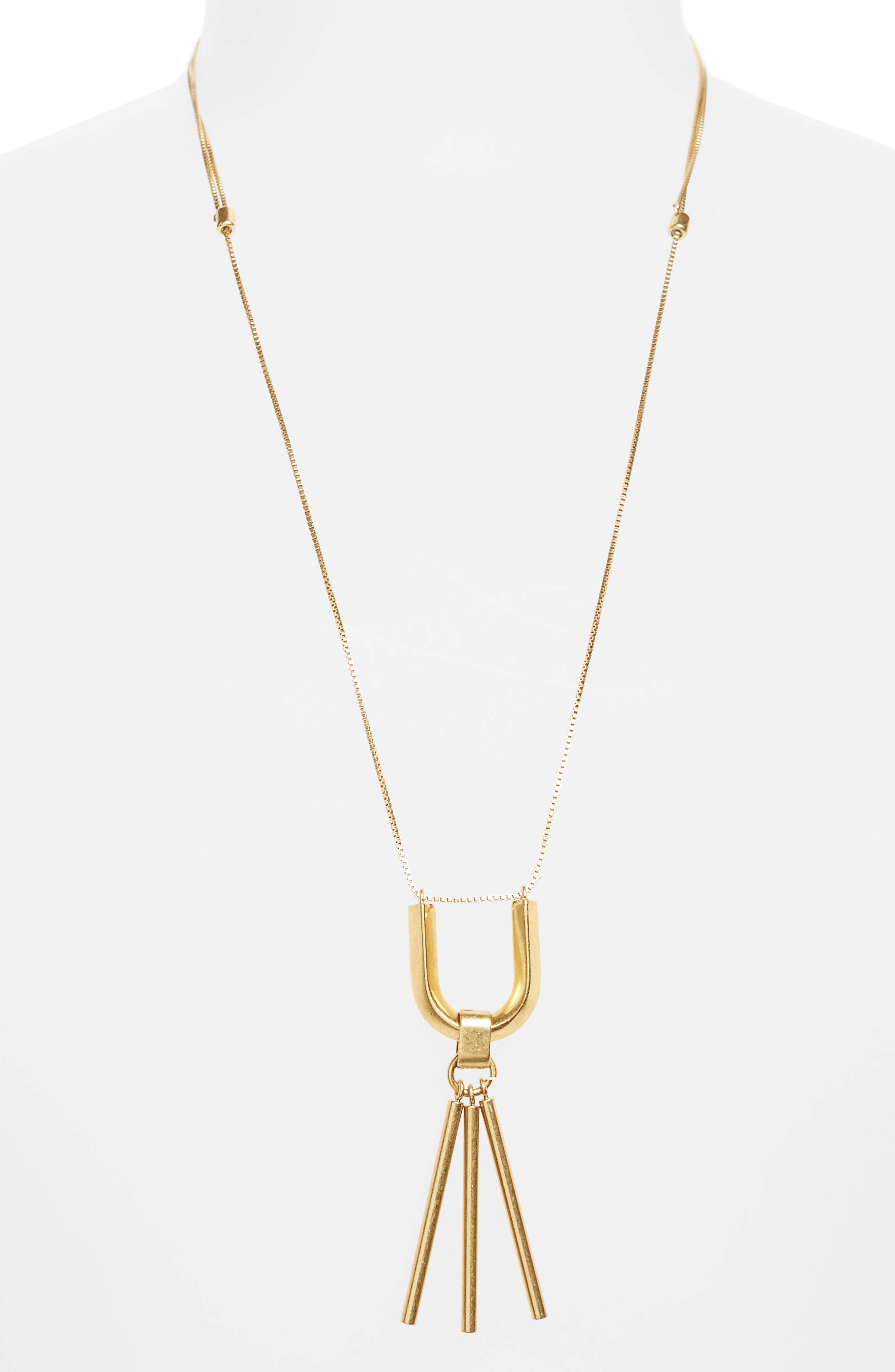 Curvelink Pendant Necklace,                             Main thumbnail 1, color,                             Gold Ox