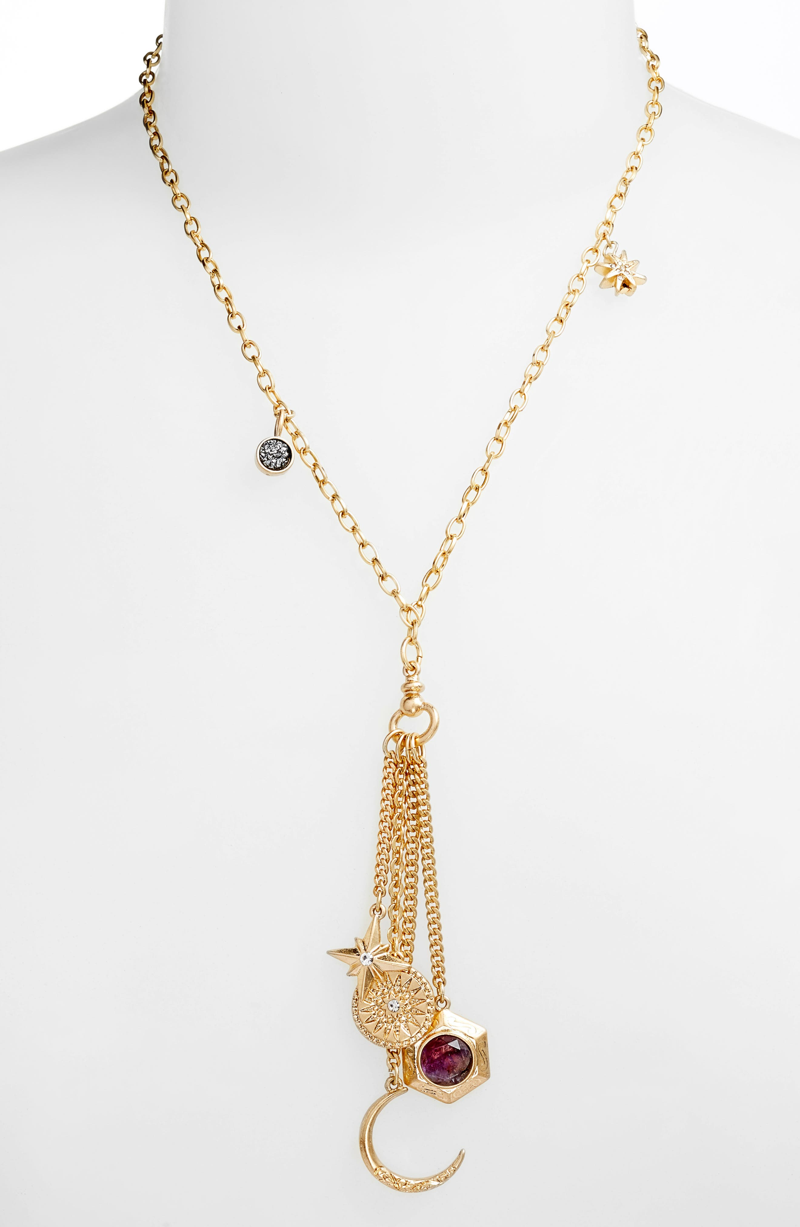Multi Charm Y-Necklace,                         Main,                         color, Clear- Grey- Gold
