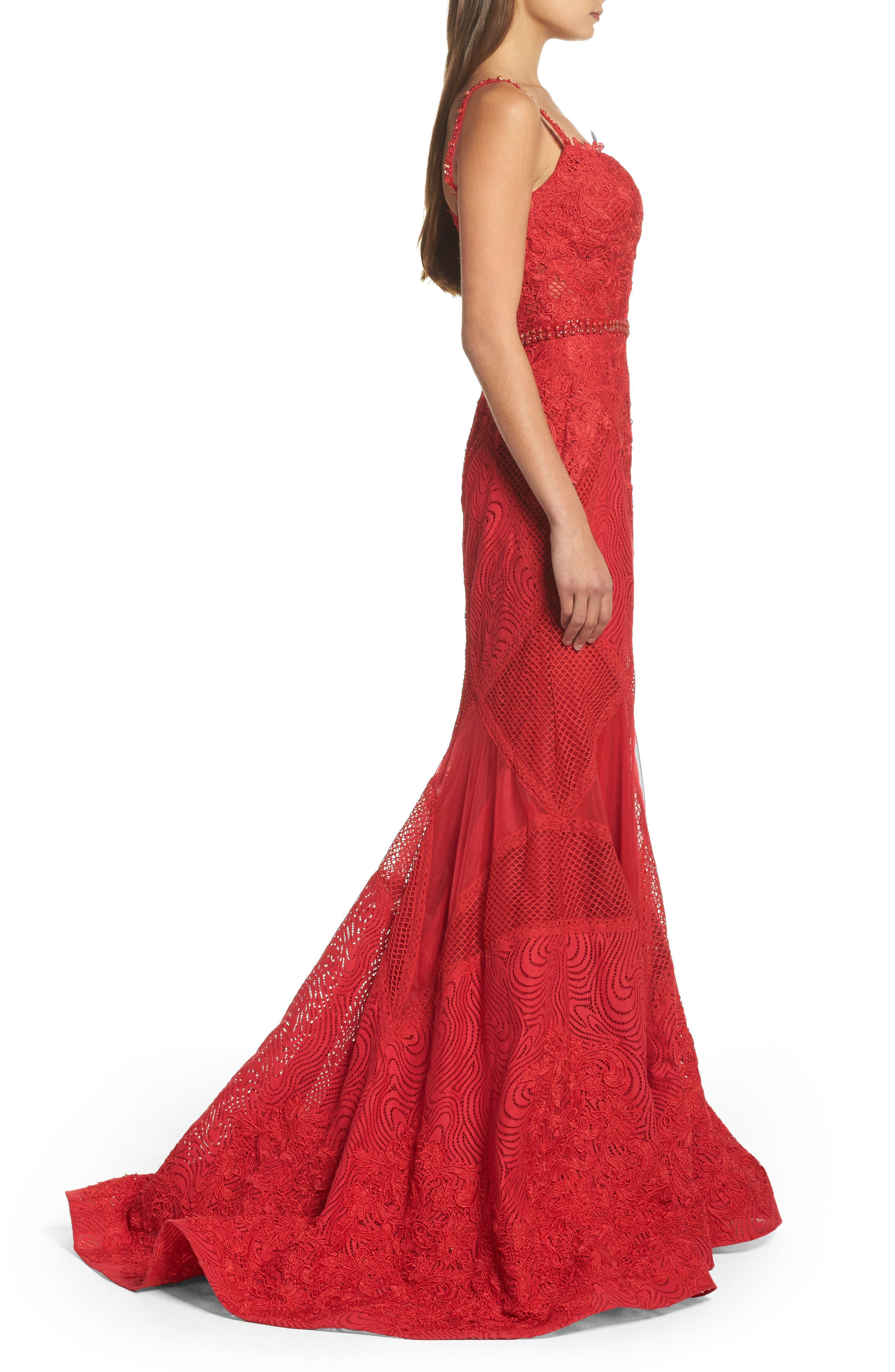 Embellished Lace Mermaid Gown,                             Alternate thumbnail 3, color,                             Red