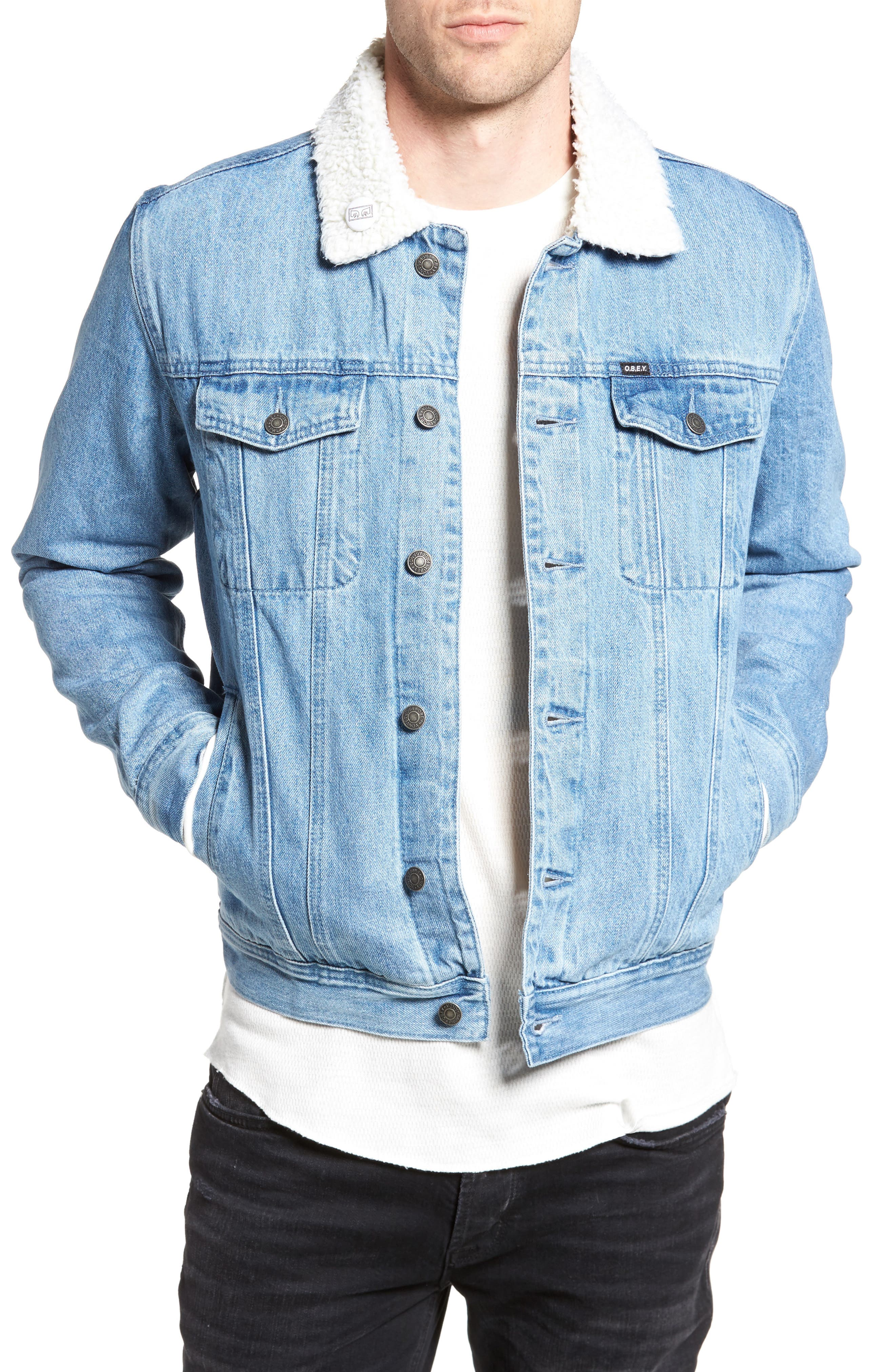 Off the Chain Fleece Denim Jacket,                         Main,                         color, Light Indigo