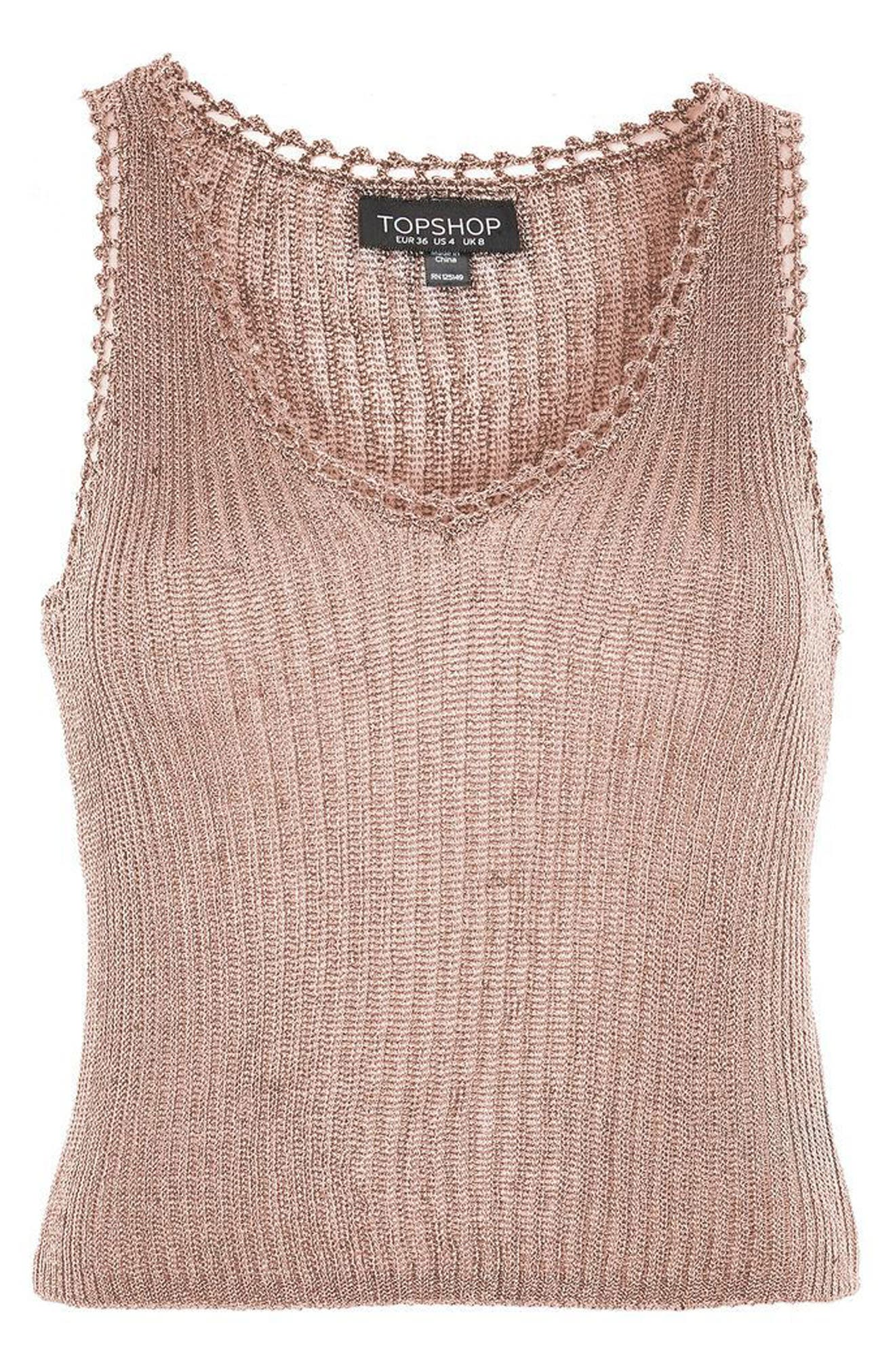 Metallic Ribbed Sweater Tank,                             Alternate thumbnail 4, color,                             Rose Gold