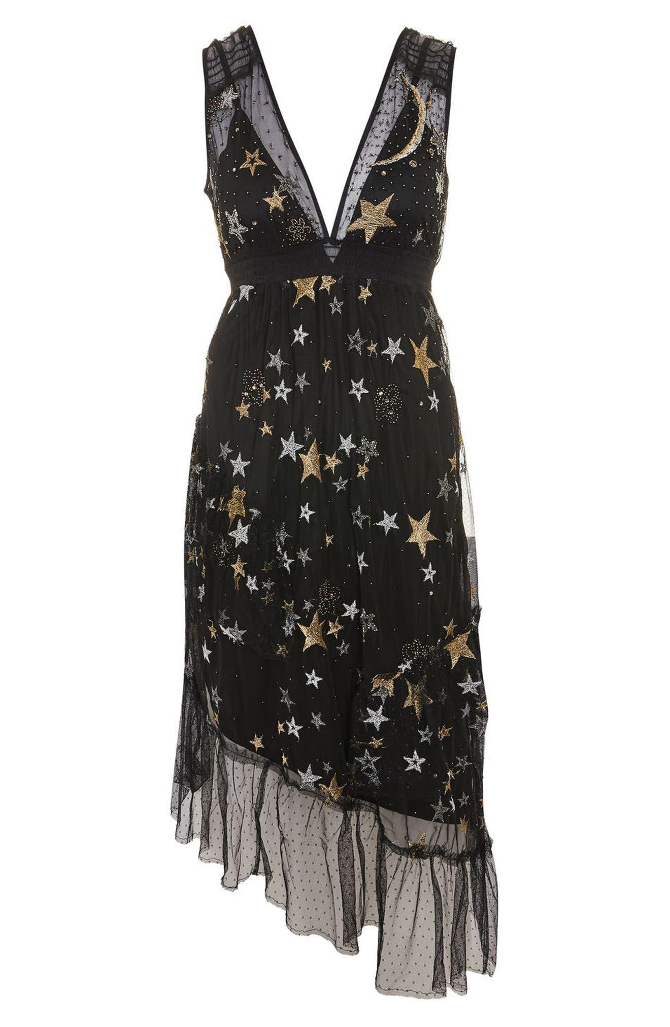 Alternate Image 3  - Topshop Star Print Asymmetrical Midi Dress