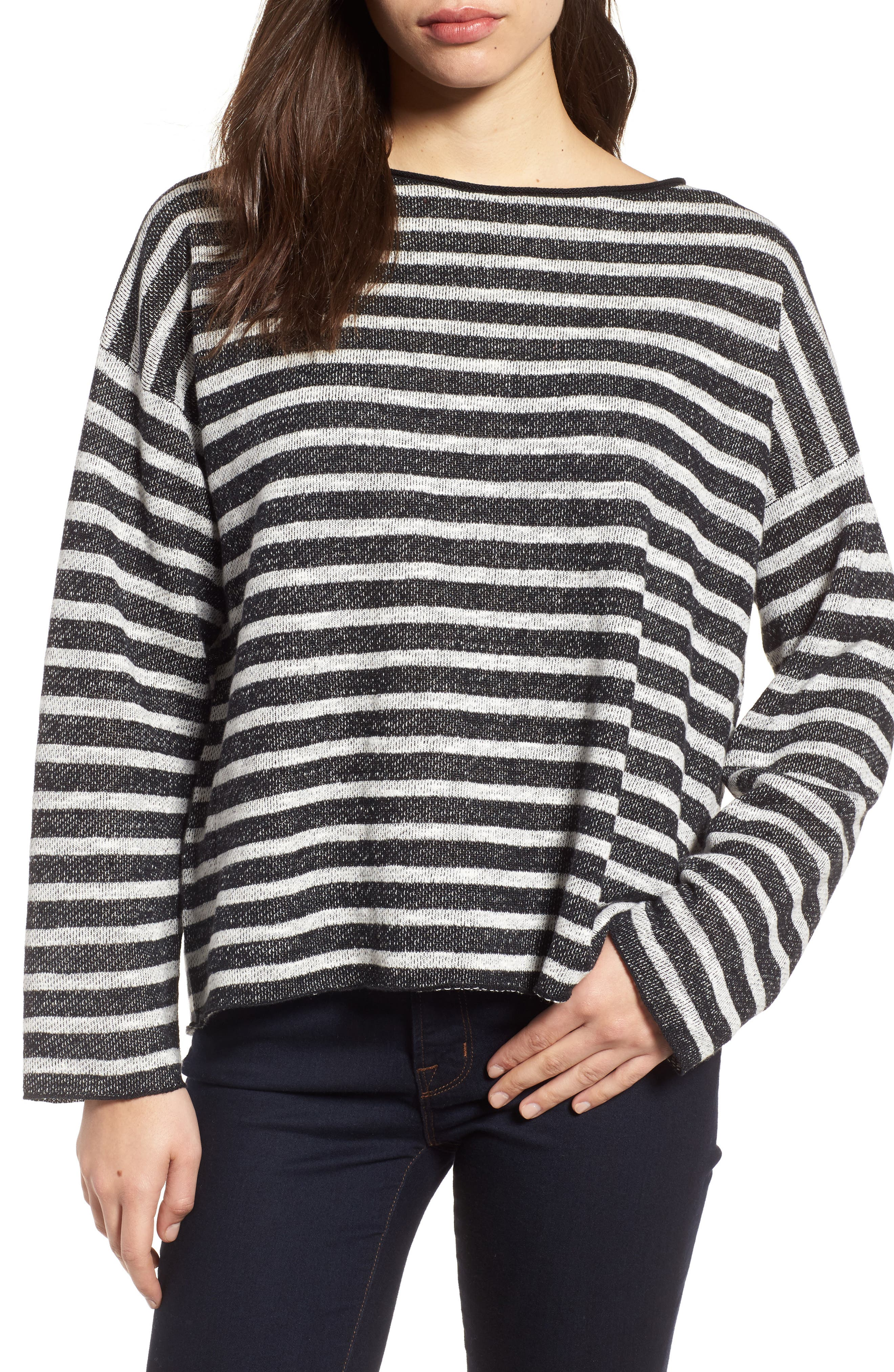 Stripe Organic Linen & Cotton Sweater,                         Main,                         color, Black/ Soft White