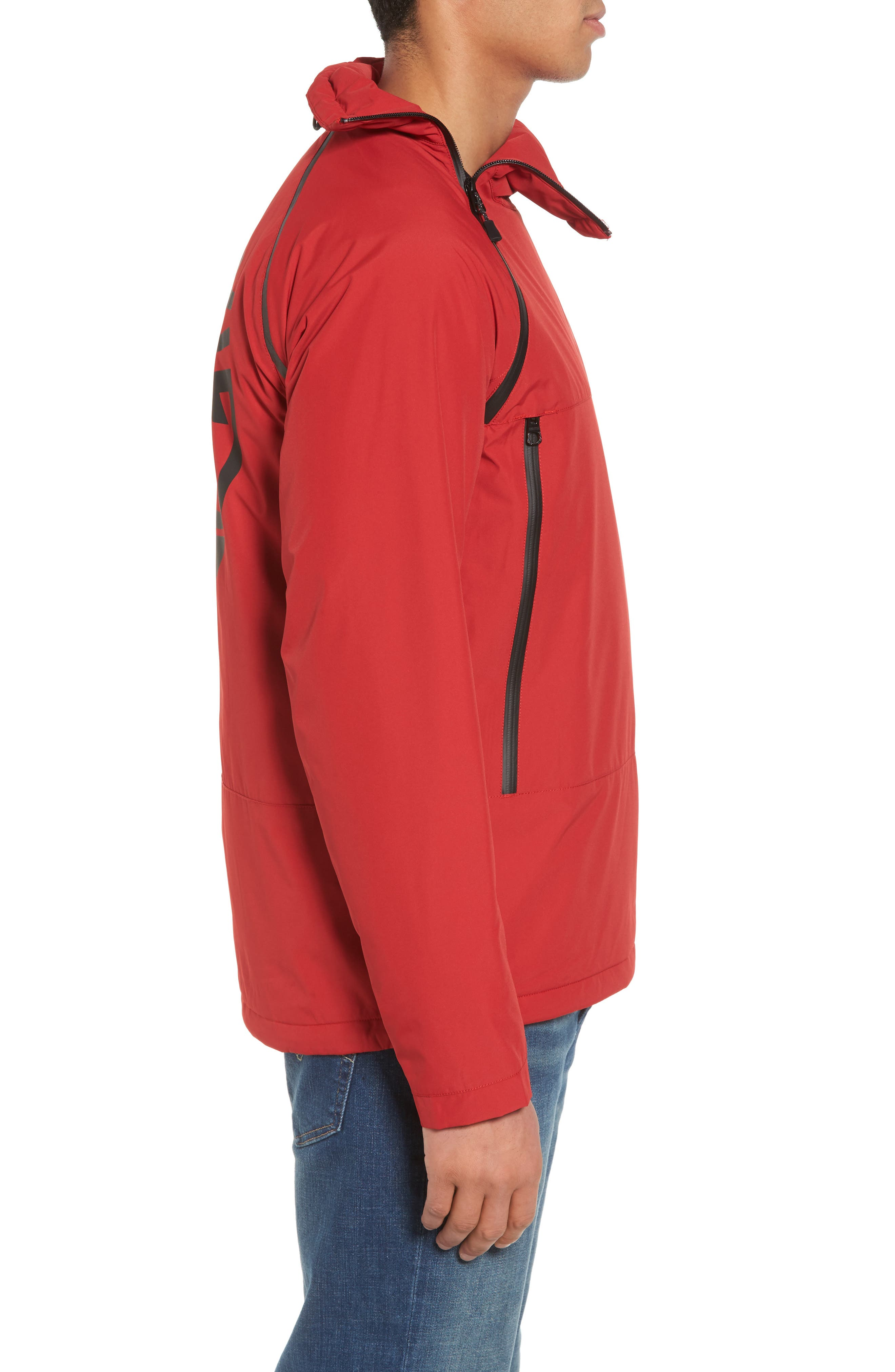 Asymmetrical Water-Repellent Funnel Neck Pullover,                             Alternate thumbnail 3, color,                             Chili Pepper