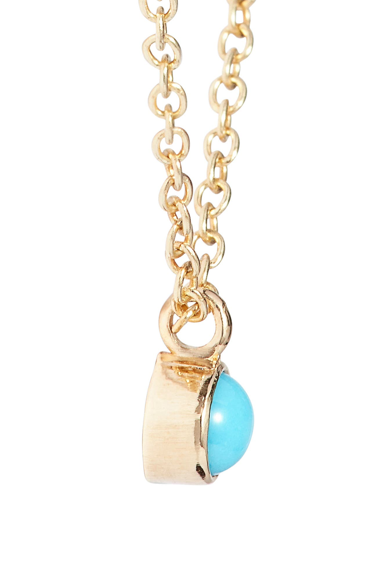 Dangling Semiprecious Stone Choker,                             Alternate thumbnail 3, color,                             Yellow Gold/ Turquoise