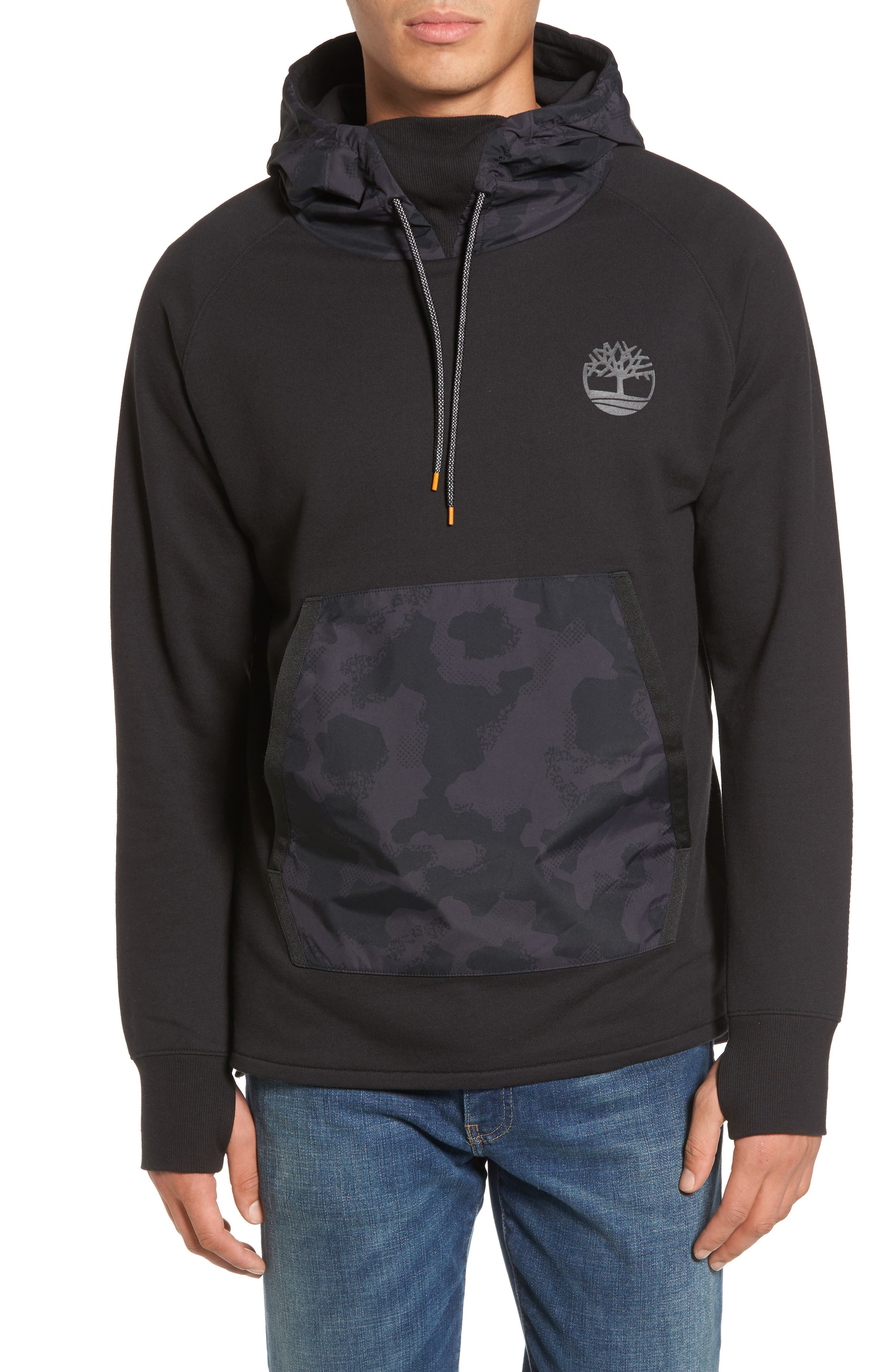 Mixed Media Oversize Hoodie,                         Main,                         color, Black