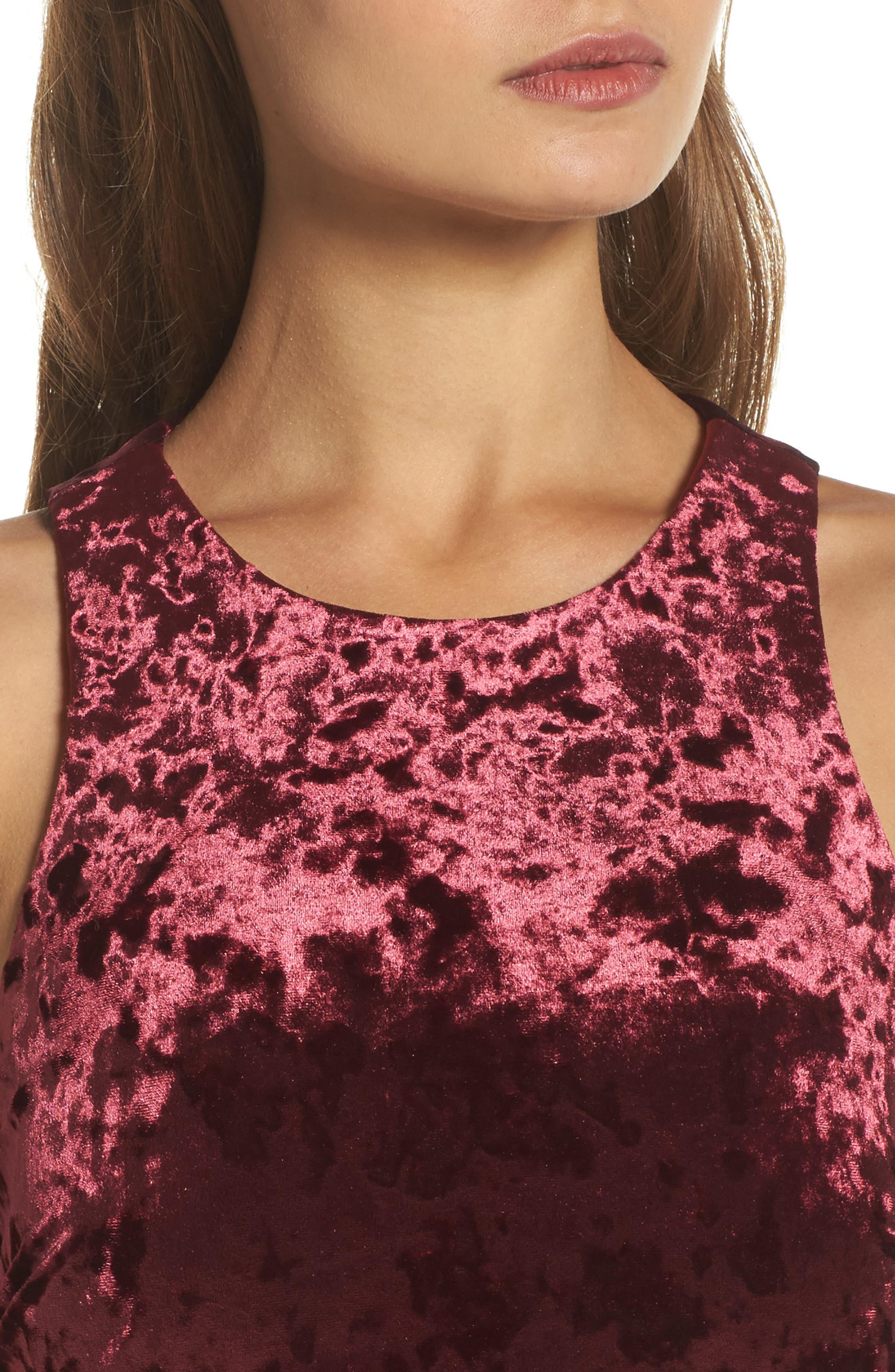Cutout Back Velvet Sheath Dress,                             Alternate thumbnail 4, color,                             Burgundy