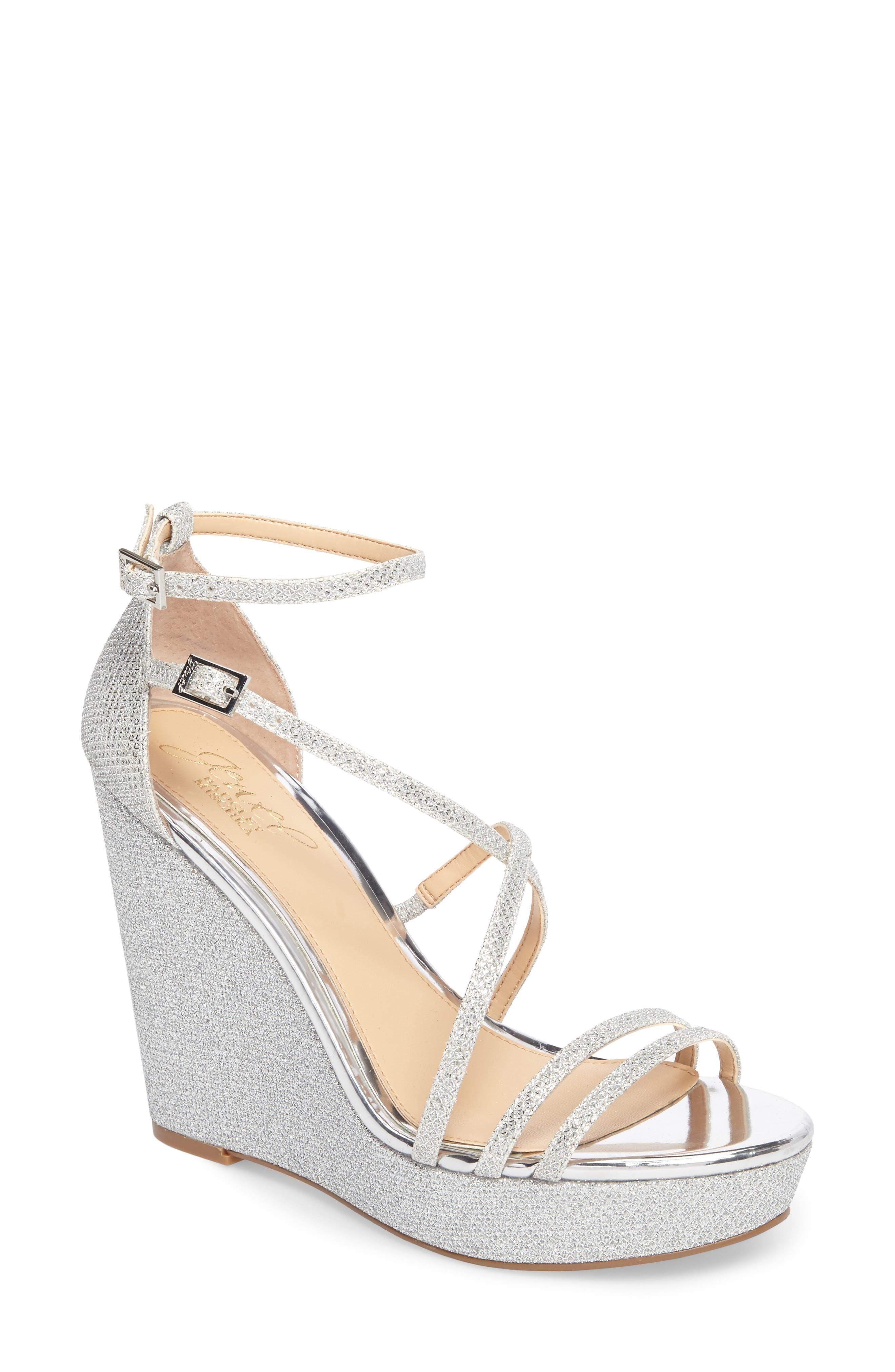 Tatsu Wedge Sandal,                         Main,                         color, Silver Glitter