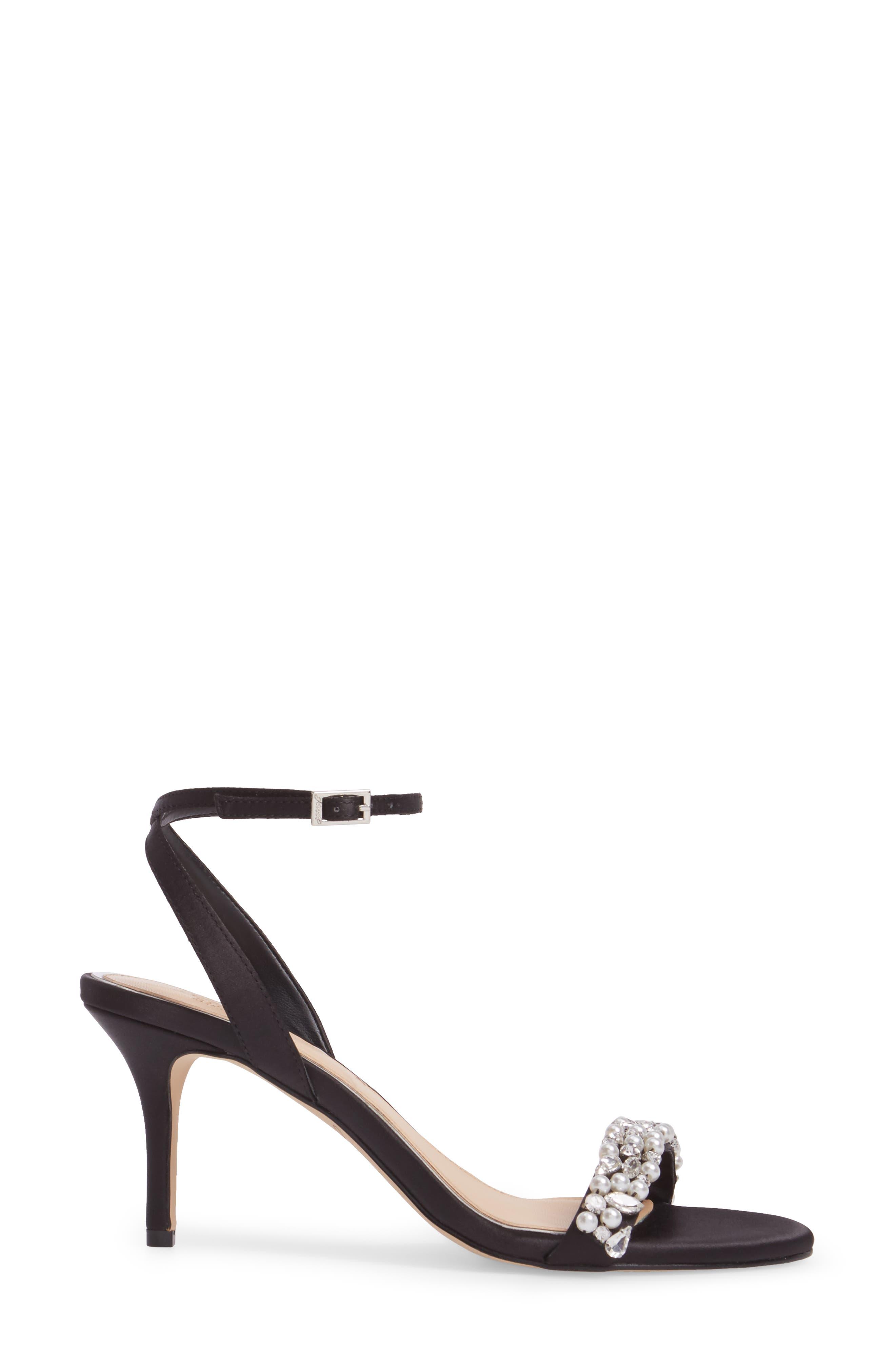 Jewel by Badgley Mischka Theodora Ankle Strap Sandal,                             Alternate thumbnail 3, color,                             Black Satin