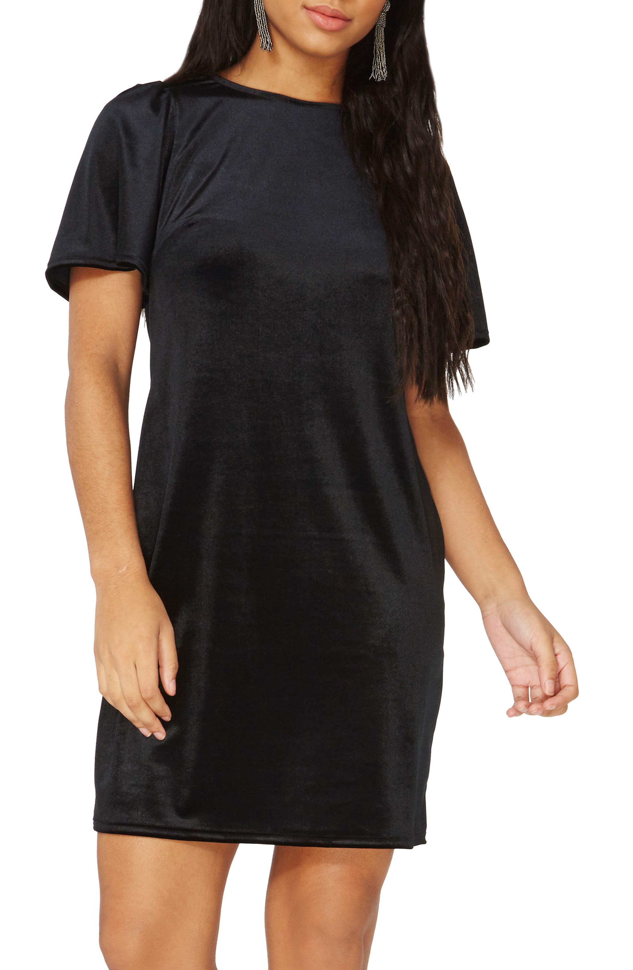 Velvet Shift Dress,                             Main thumbnail 1, color,                             Black
