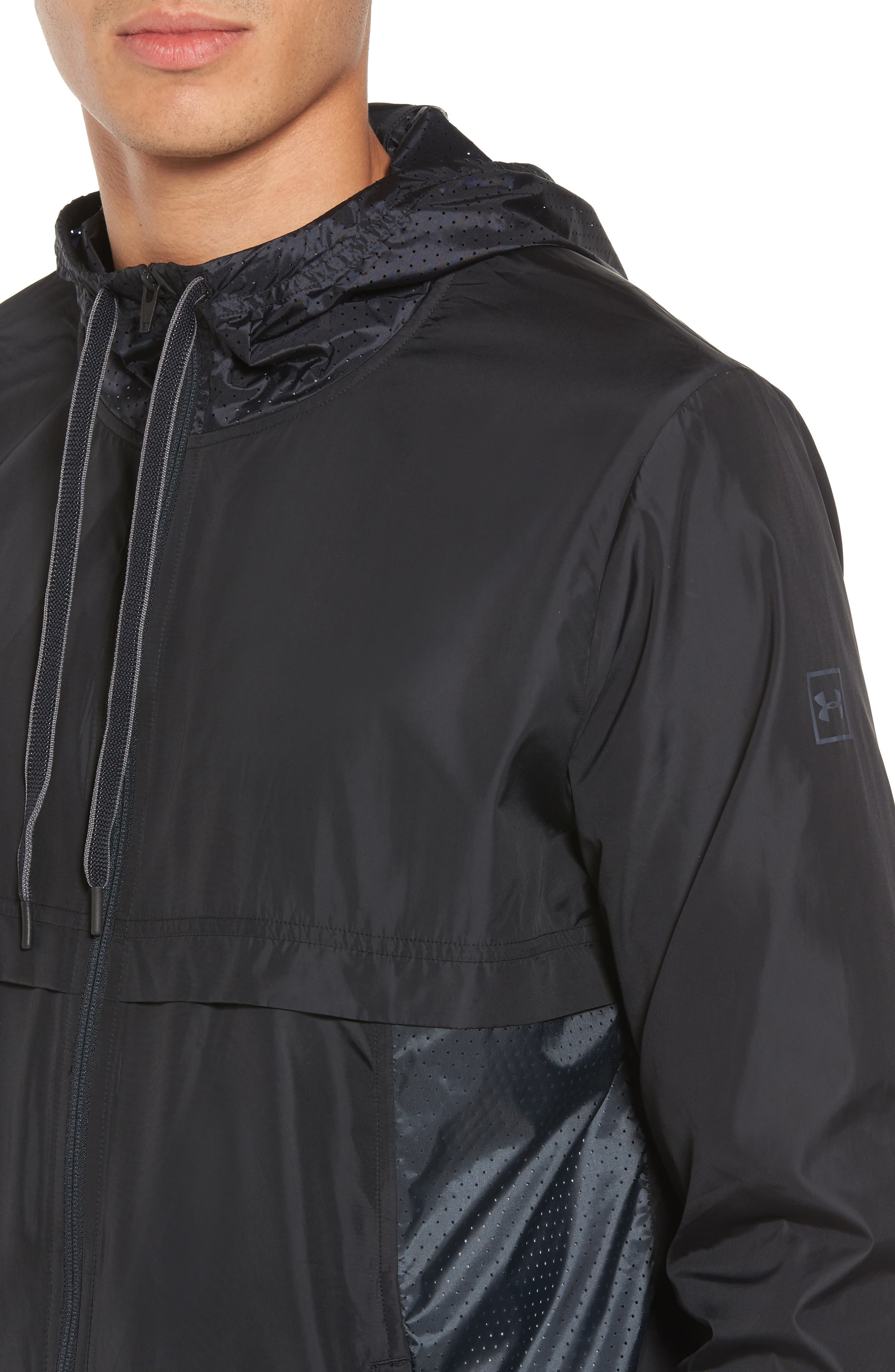 Sportstyle Windbreaker,                             Alternate thumbnail 6, color,                             Black / Overcast Grey