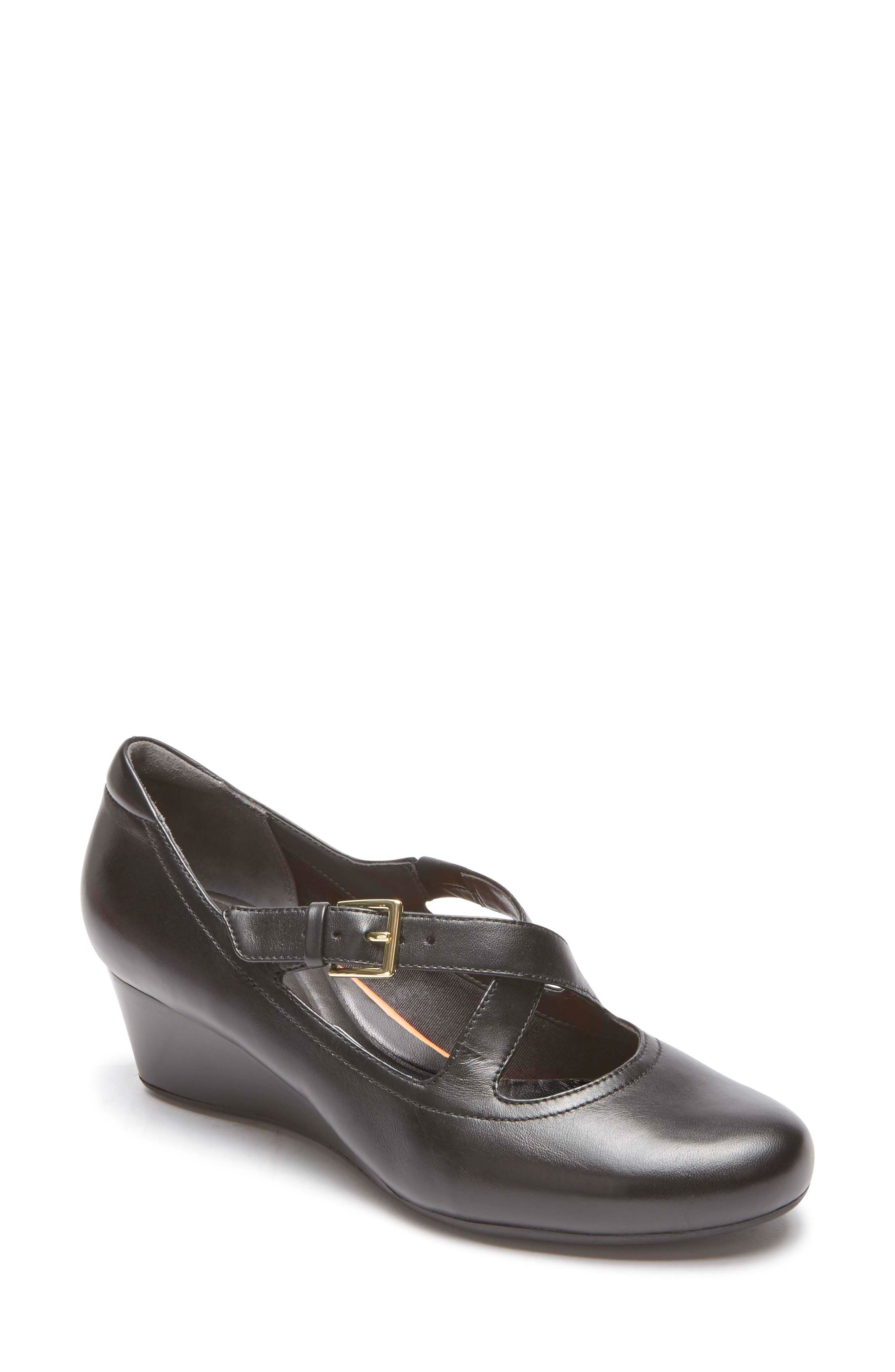 Total Motion Luxe Two-Strap Wedge,                         Main,                         color, Black Leather