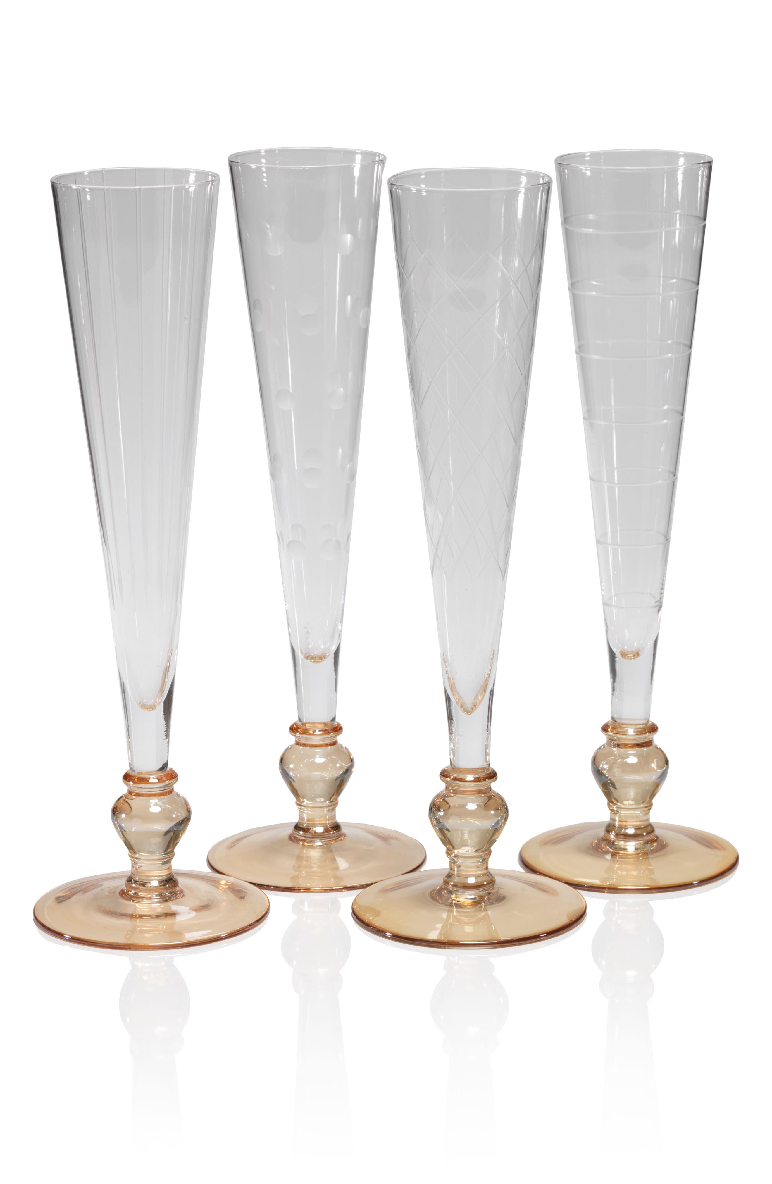 Tatiana Set of 4 Champagne Flutes,                         Main,                         color, Amber